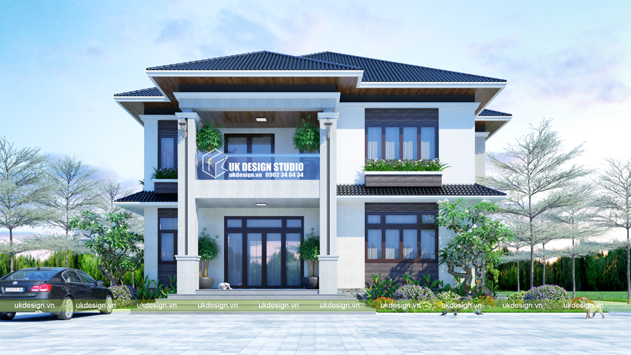 Thiết kế biệt thự mái Thái 2 tầng sân vườn