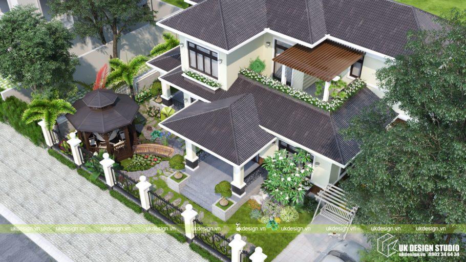 Thiết kế biệt thự sân vườn mái Thái 500m2