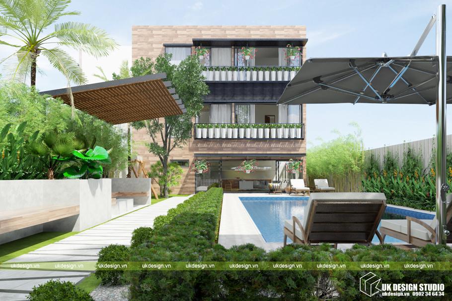 Thiết kế biệt thự sân vườn phong cách hiện đại
