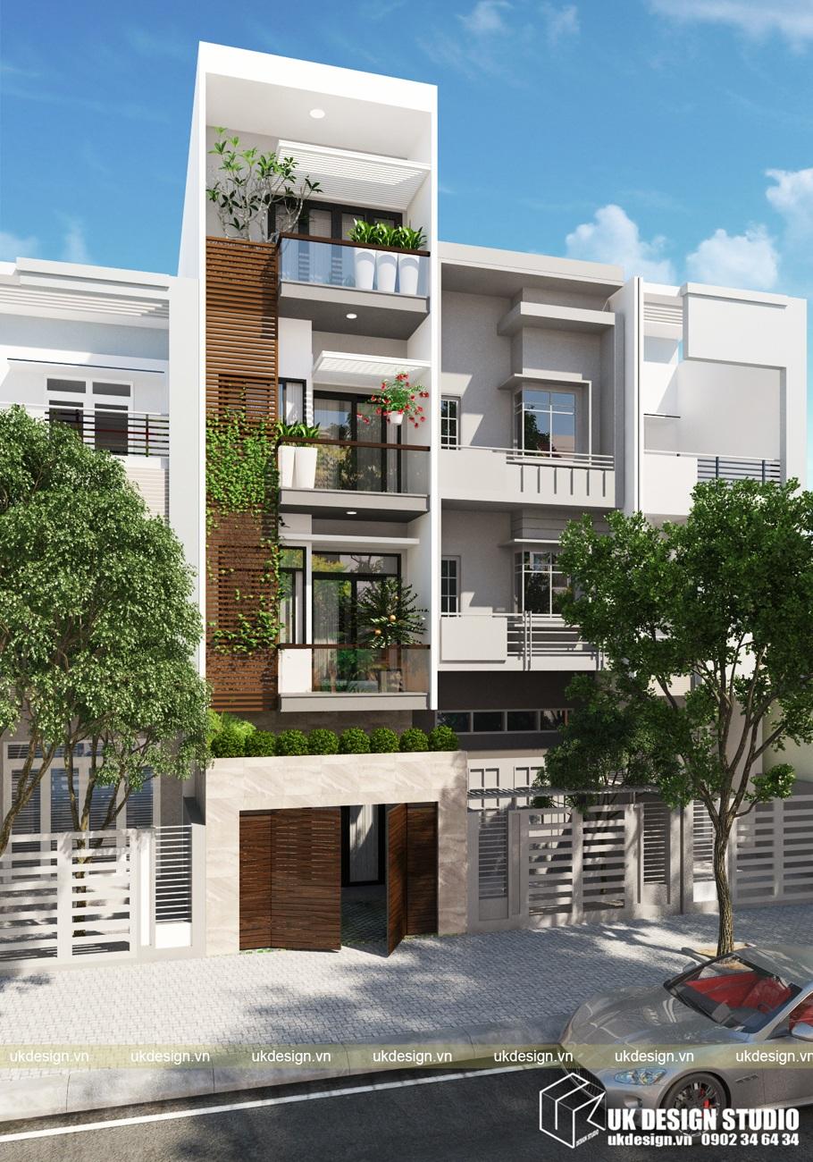Thiết kế nhà phố hiện đại liền kề mặt tiền 4m