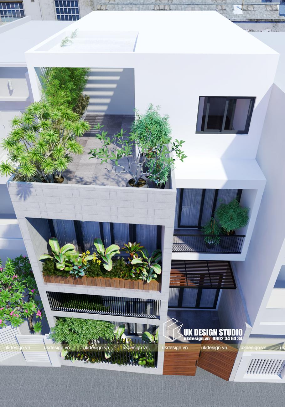 Thiết kế nhà phố 4 tầng hiện đại mặt tiền 7m