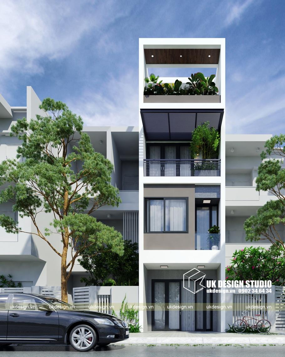 Thiết kế nhà phố hiện đại 4 tầng mặt tiền 4m