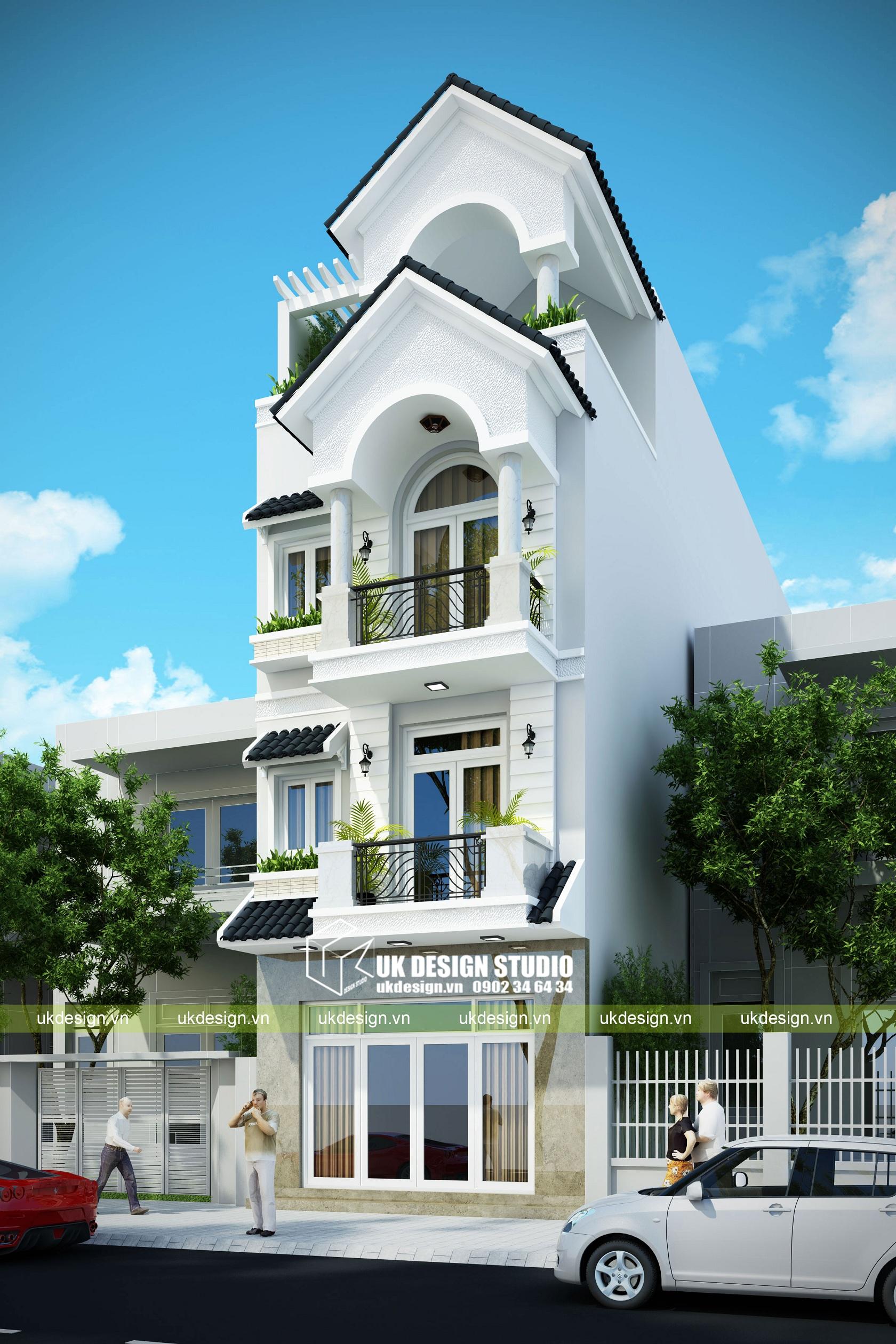 Thiết kế nhà phố cổ điển 5x20m - b