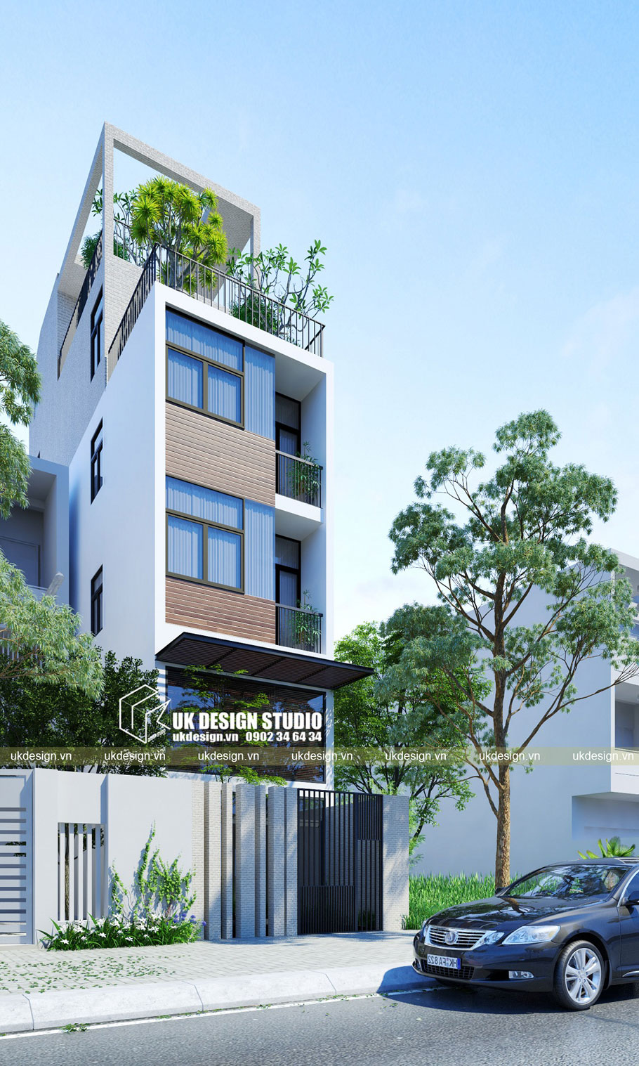 Thiết kế nhà phố lệch tầng 4m
