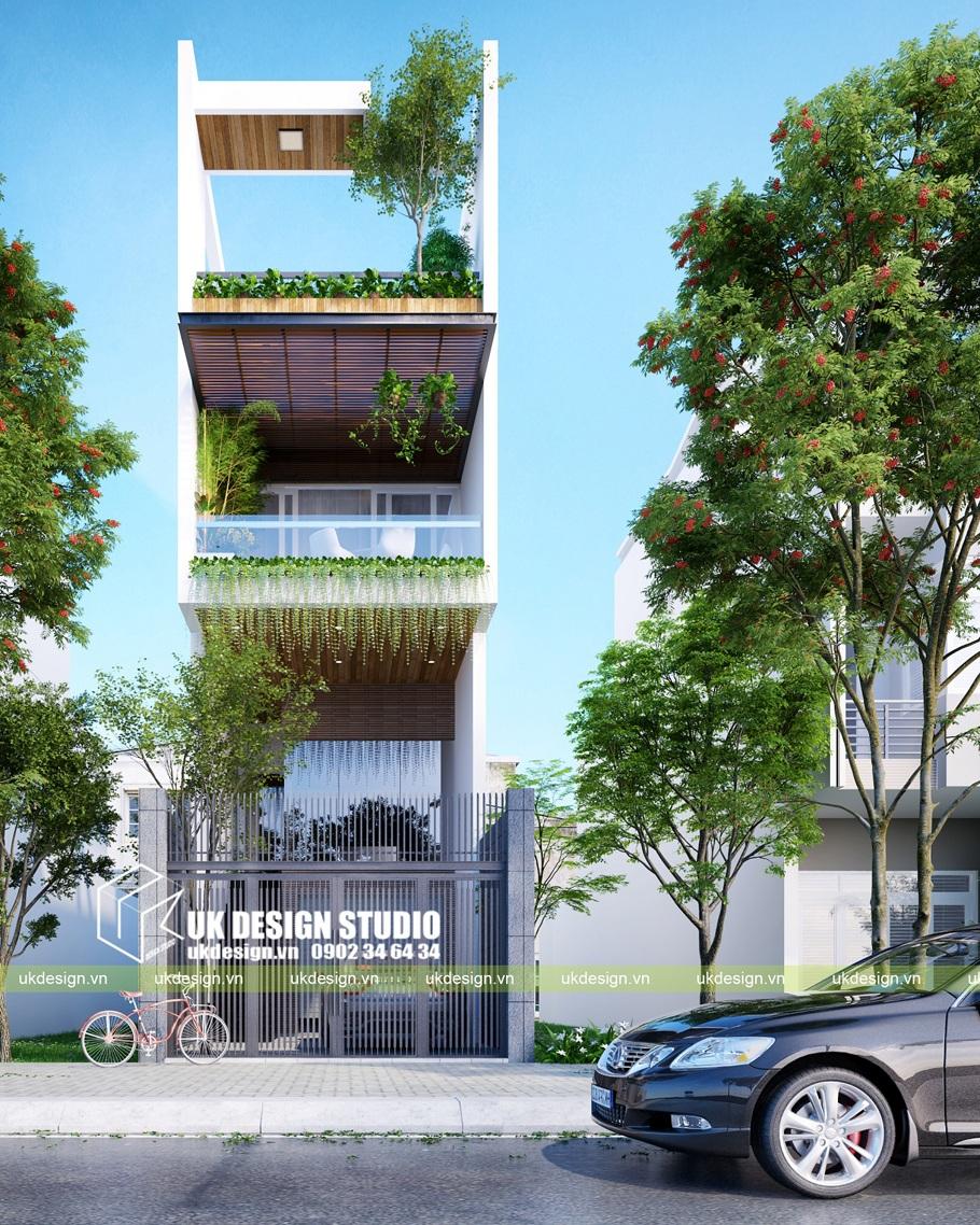 Thiết kế nhà phố hiện đại 3 tầng kết hợp văn phòng kinh doanh 4,5x20m
