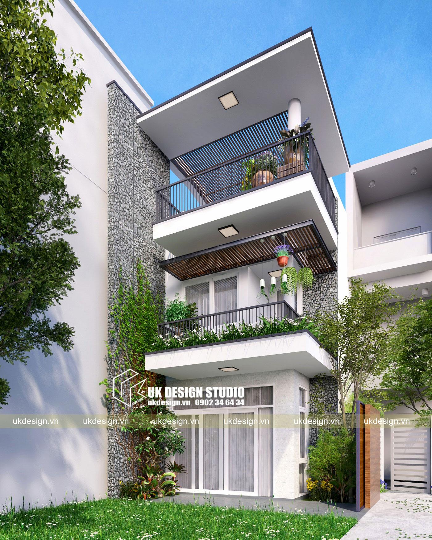 Thiết kế nhà phố hiện đại 5x15m-b