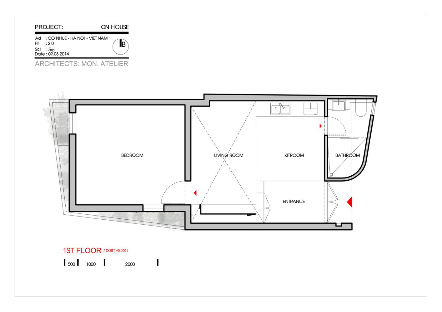 Mặt bằng nhà phố 50m2 - innovation house -1