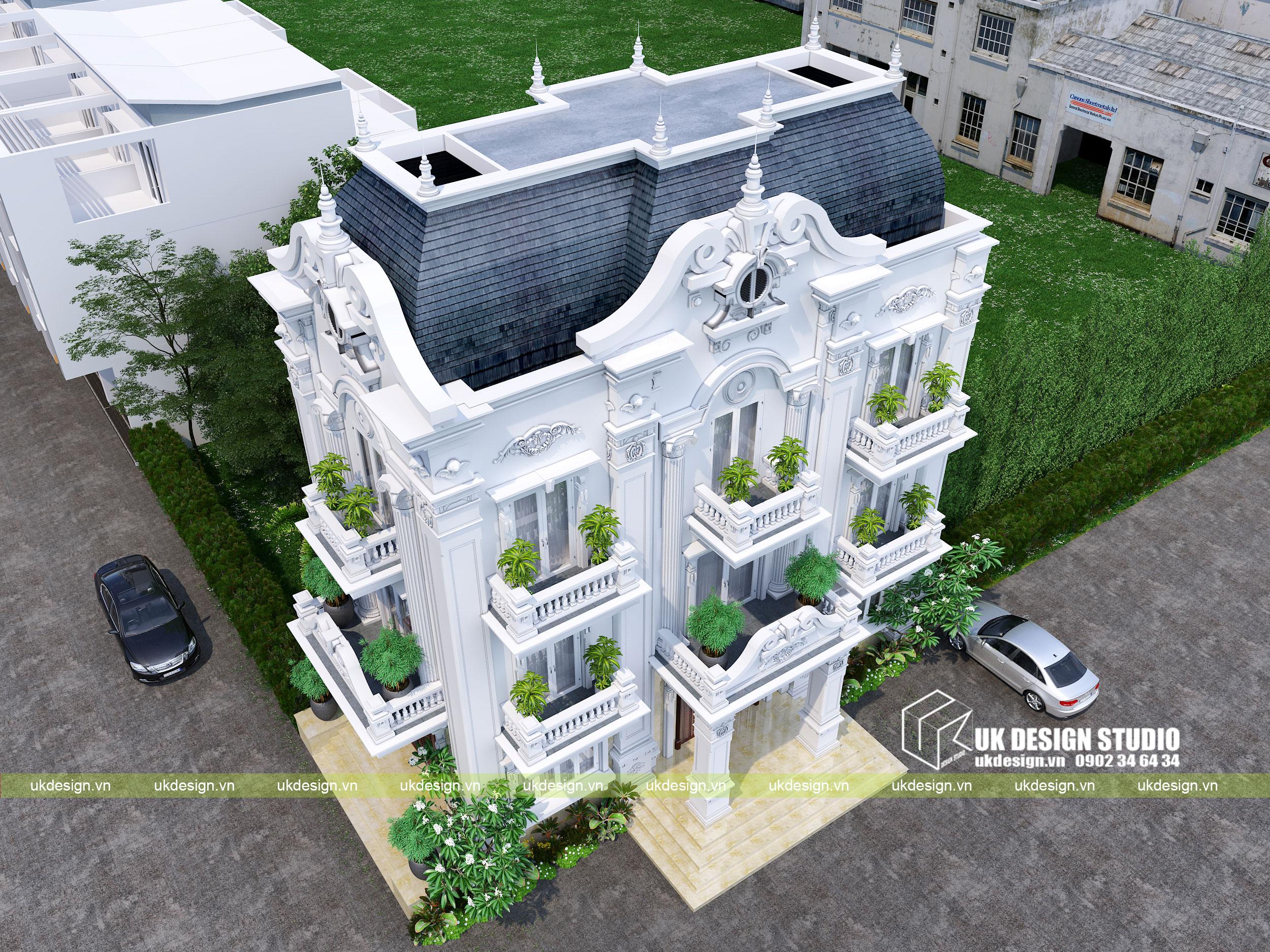 Thiết kế nhà phố cổ điển 2 mặt tiền - 2