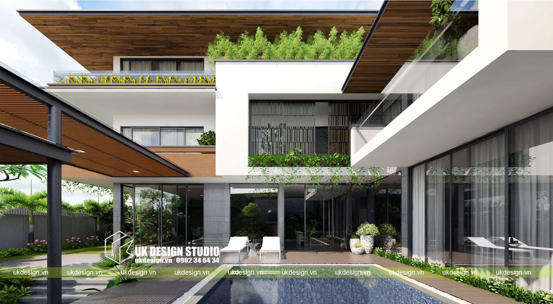 Thiết kế biệt thự vườn có hồ bơi ở Sài Gòn