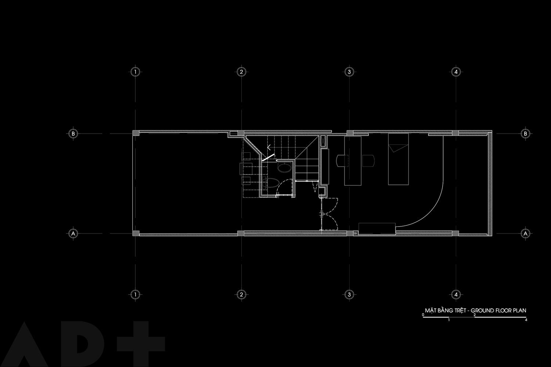 Bố trí mặt bằng tầng trệt - Backyard House