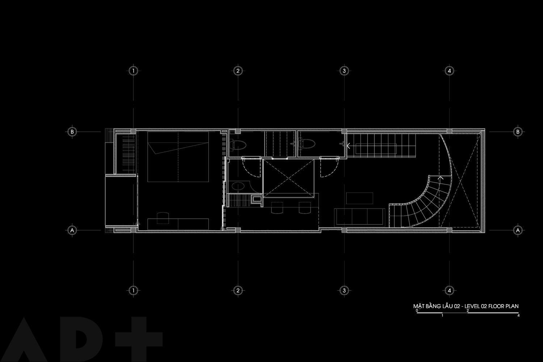 Bố trí mặt bằng lầu 2 - Backyard House