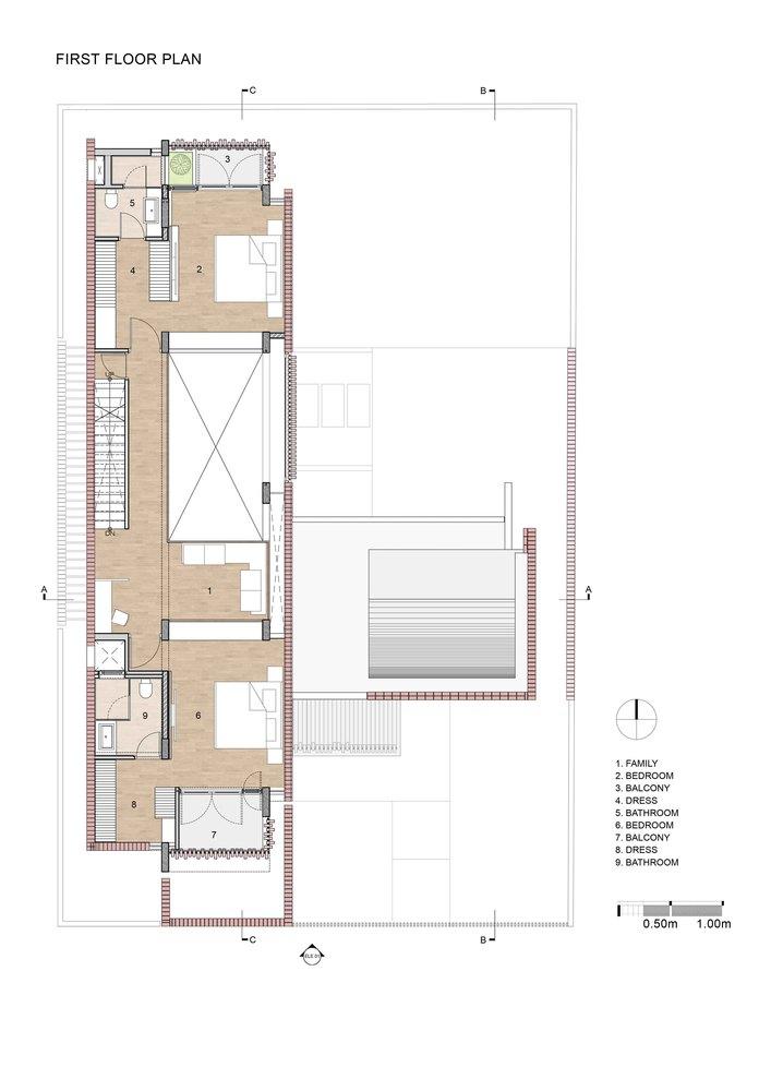 Bố trí mặt bằng tầng 1 - Brick House