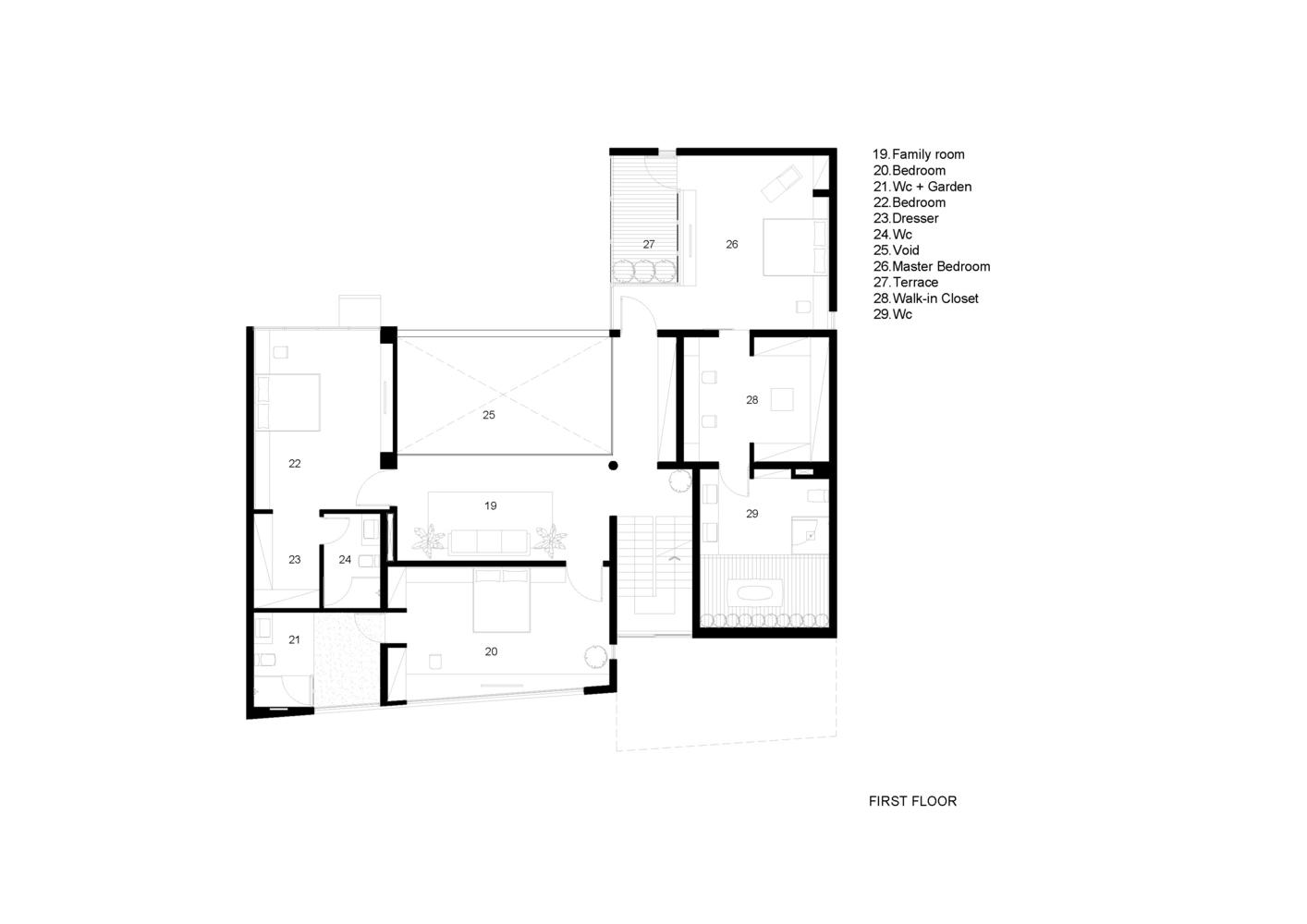 Bố trí mặt bằng lầu 1 - Biệt thự eden villa