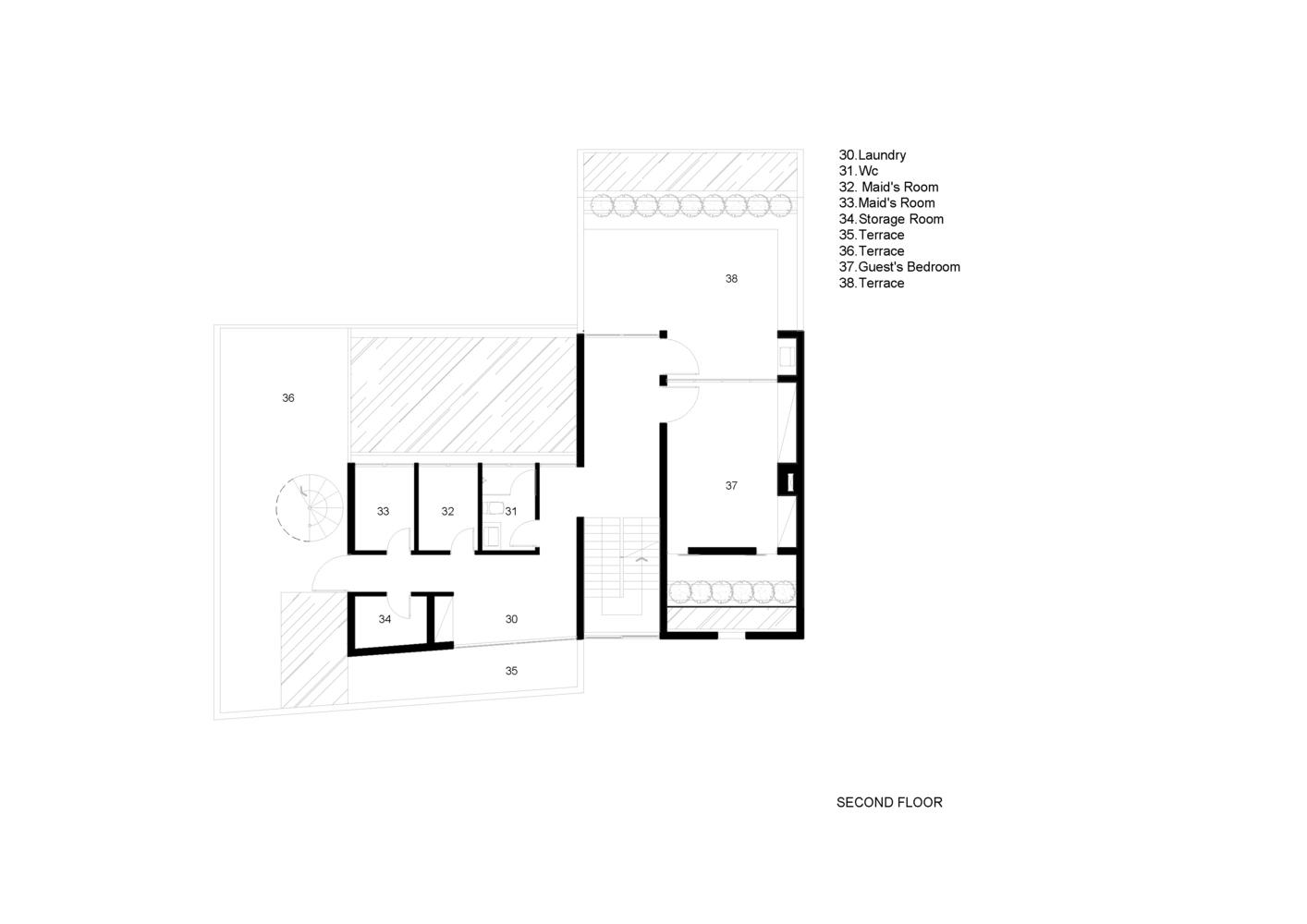 Bố trí mặt bằng lầu 2 - Biệt thự eden villa