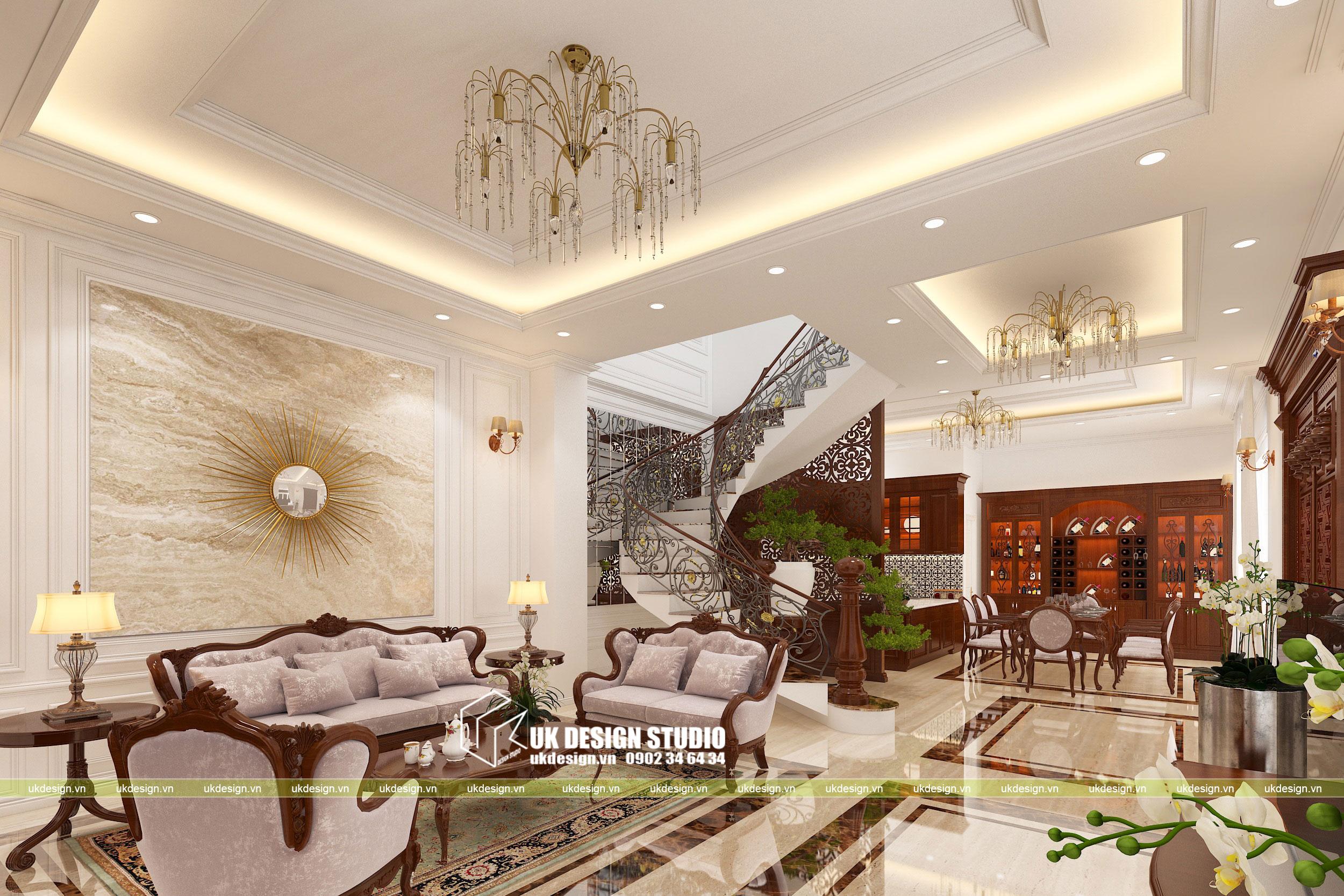 Thiết kế nội thất biệt thự cổ điển 10x20m