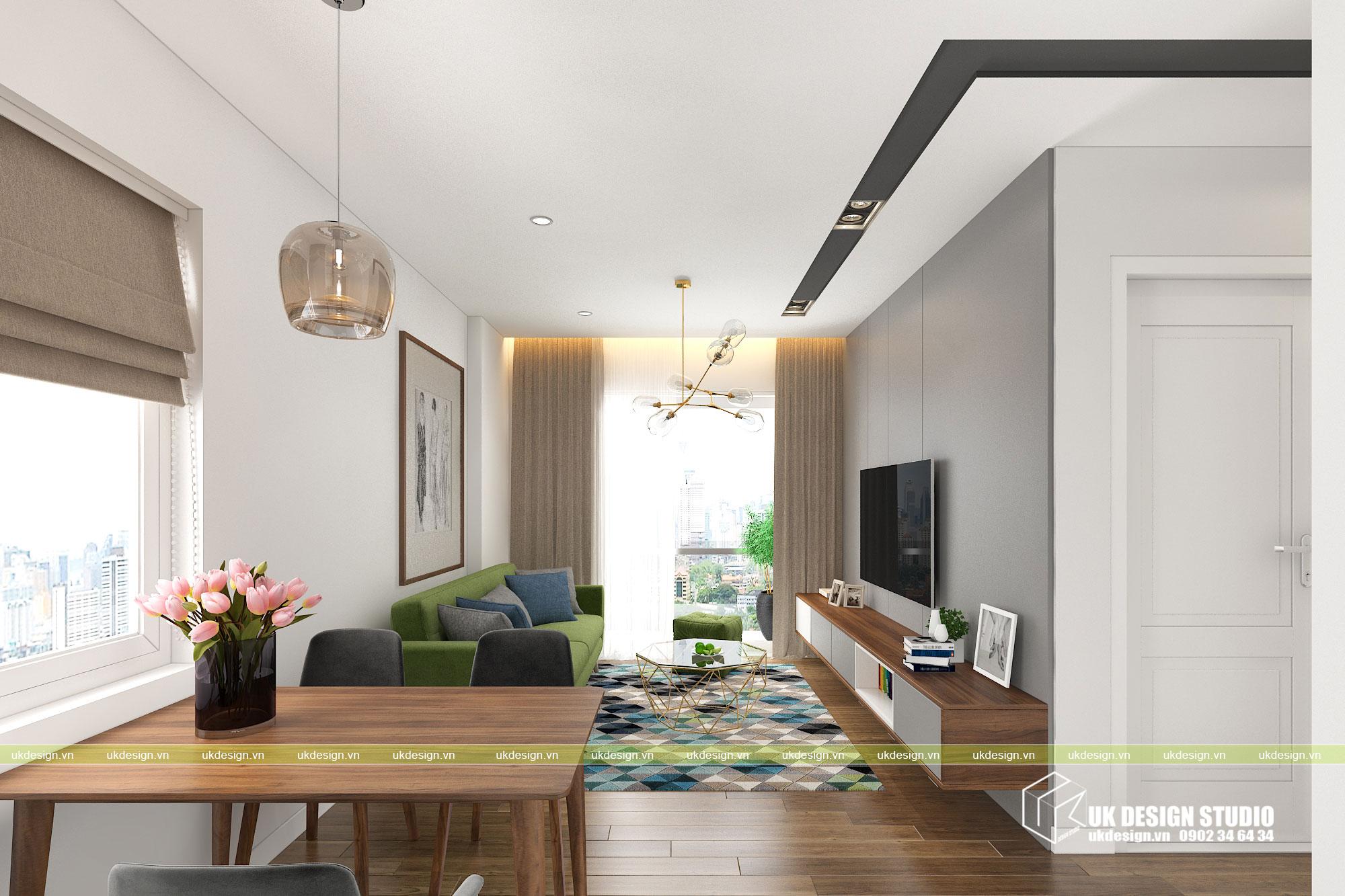 Thiết kế nội thất căn hộ 2 phòng ngủ 1