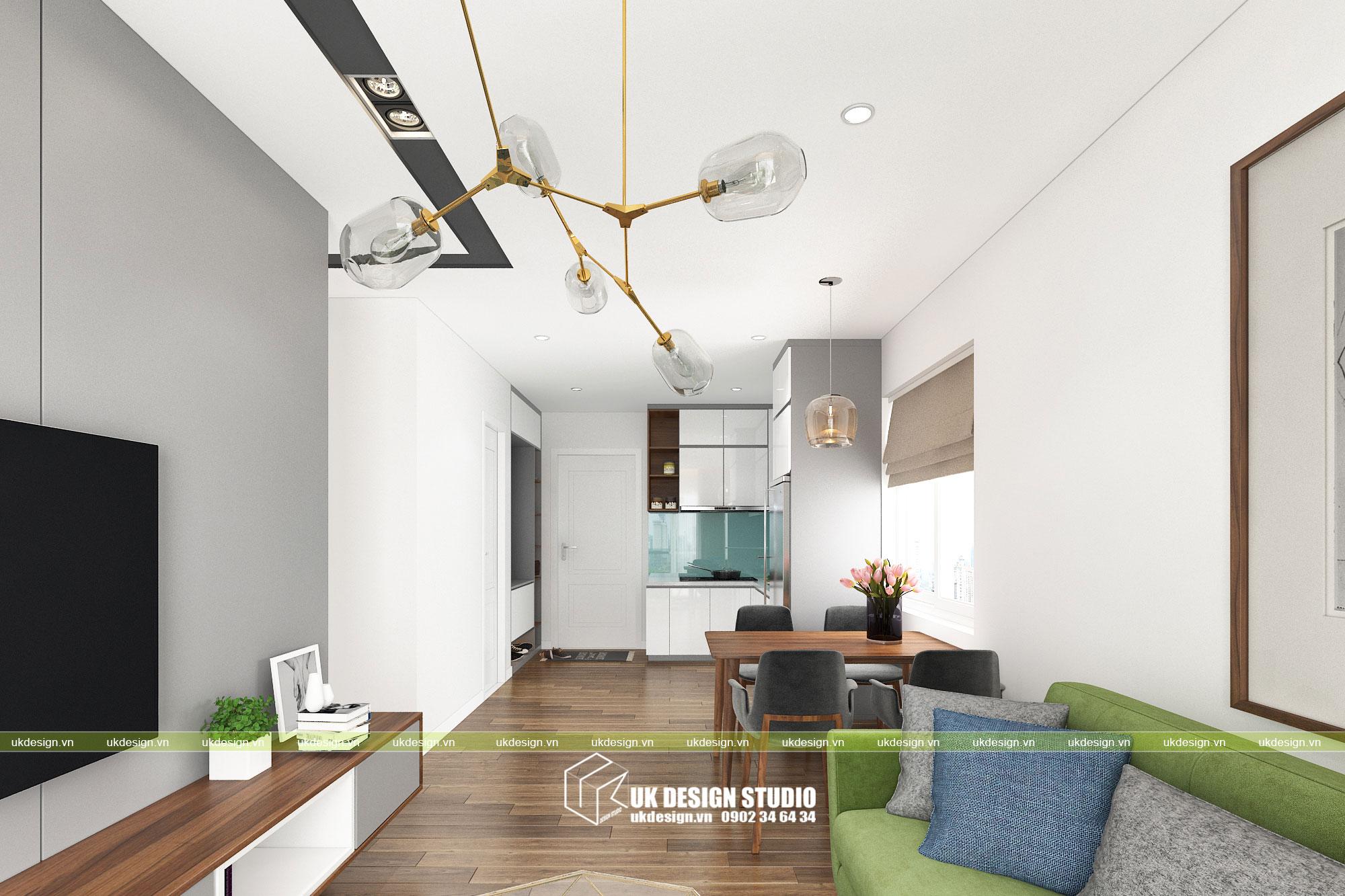 Thiết kế nội thất căn hộ 2 phòng ngủ 3