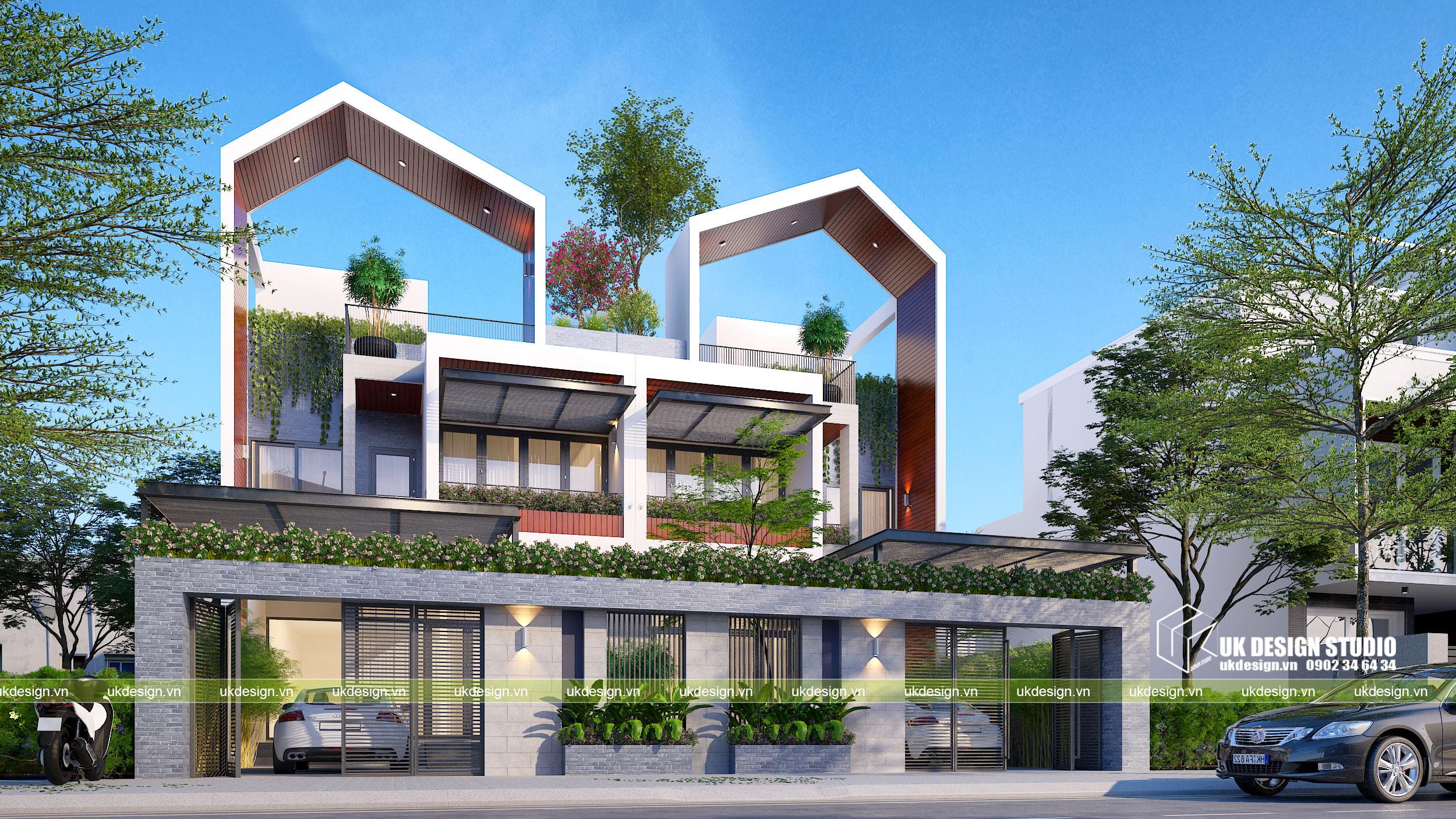 Thiết kế biệt thự song lập 2 tầng