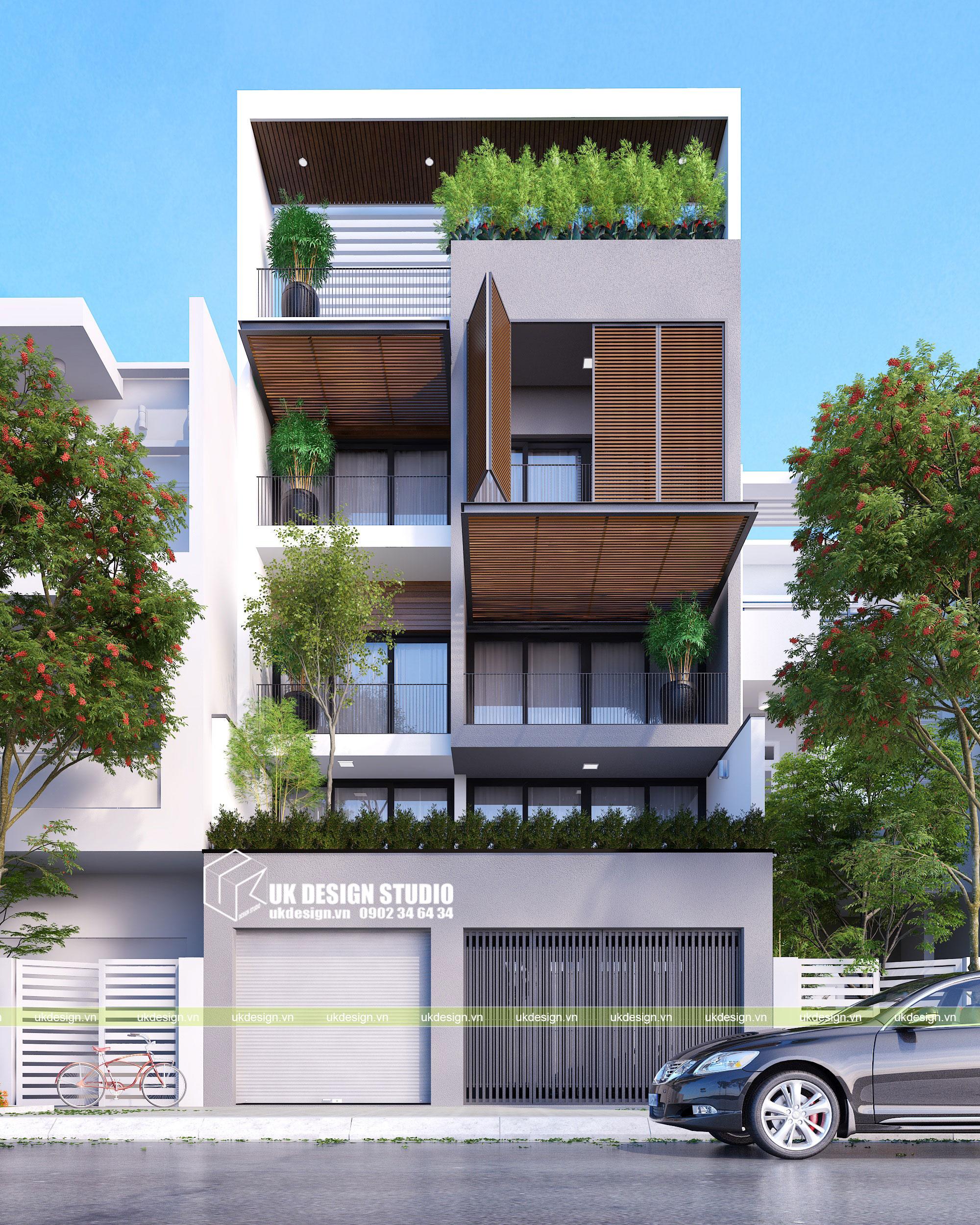 Thiết kế nhà phố hiện đại hướng tây 2