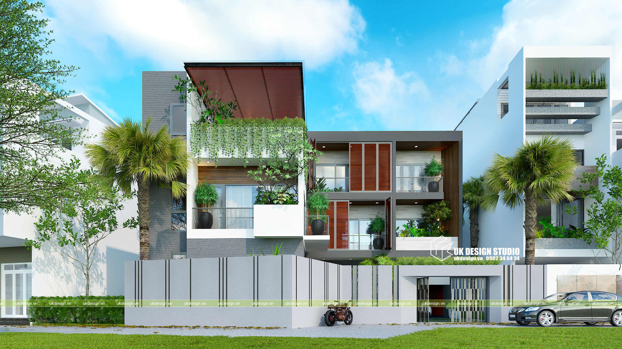 Thiết kế biệt thự hiện đại mái bằng chữ L