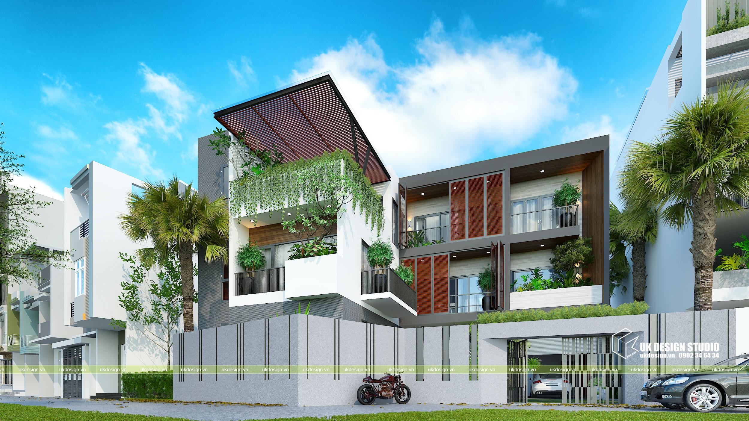 Thiết kế biệt thự hiện đại mái bằng chữ L 1