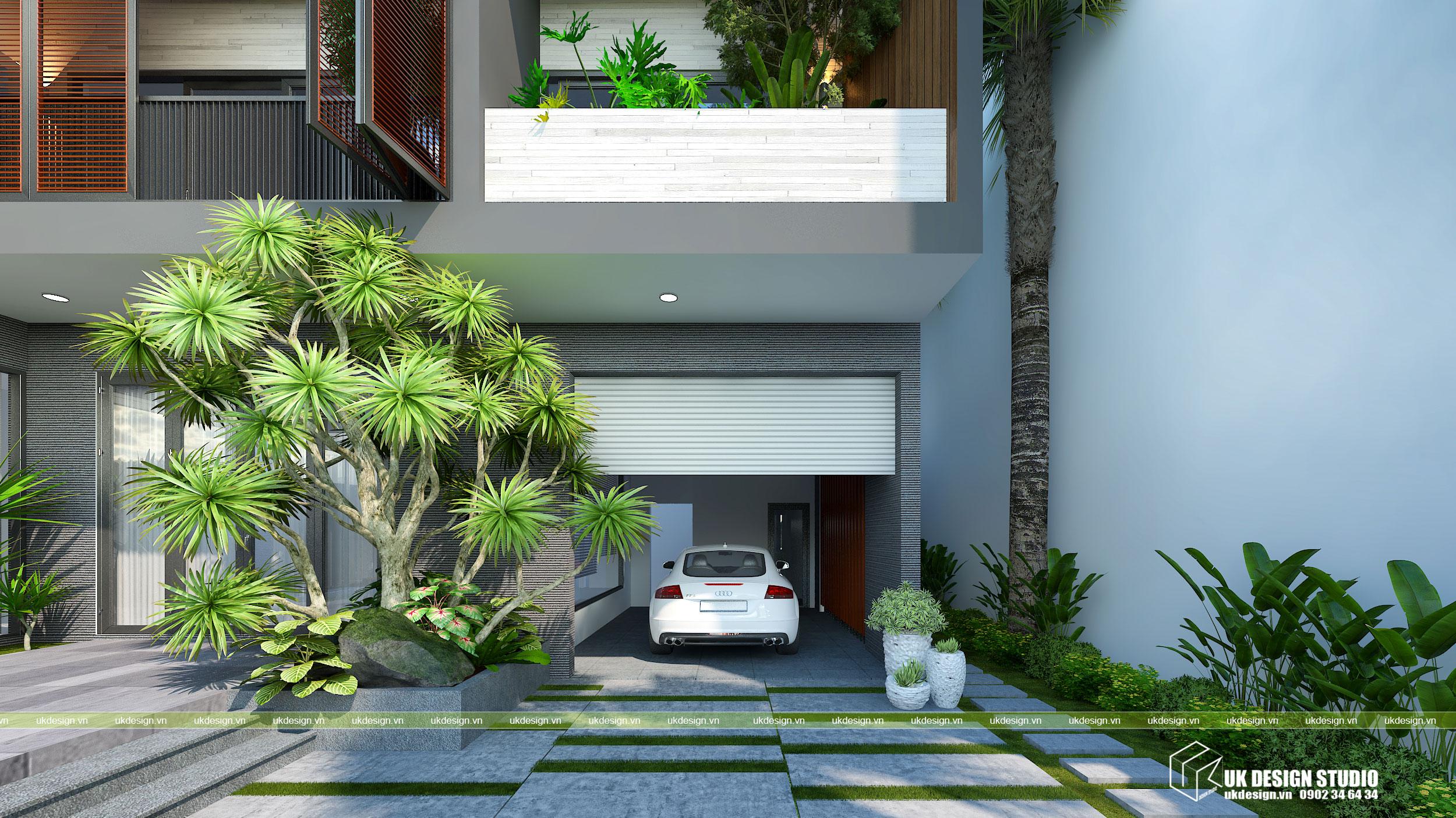 Thiết kế biệt thự hiện đại mái bằng chữ L 7