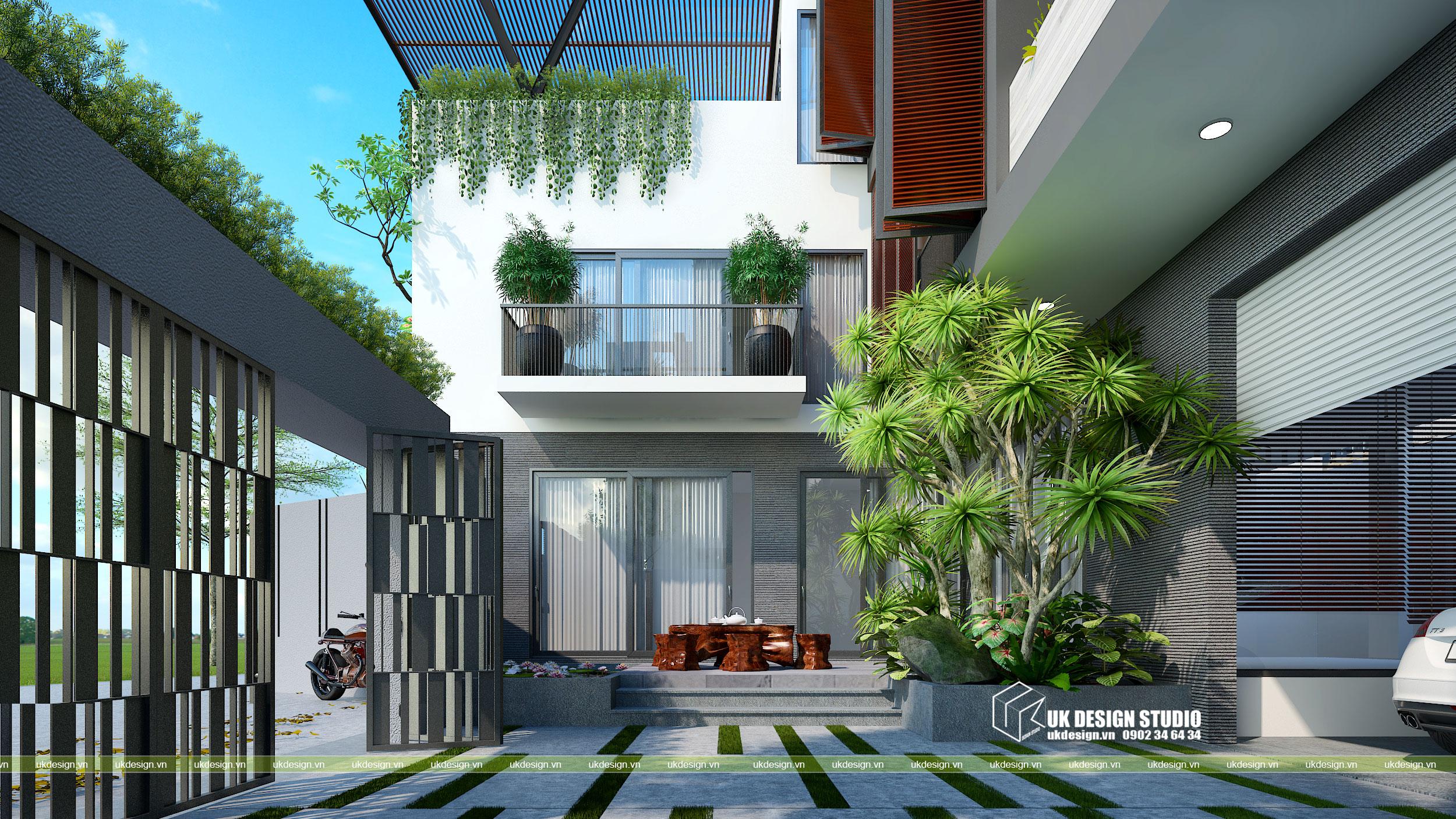 Thiết kế biệt thự hiện đại mái bằng chữ L 8