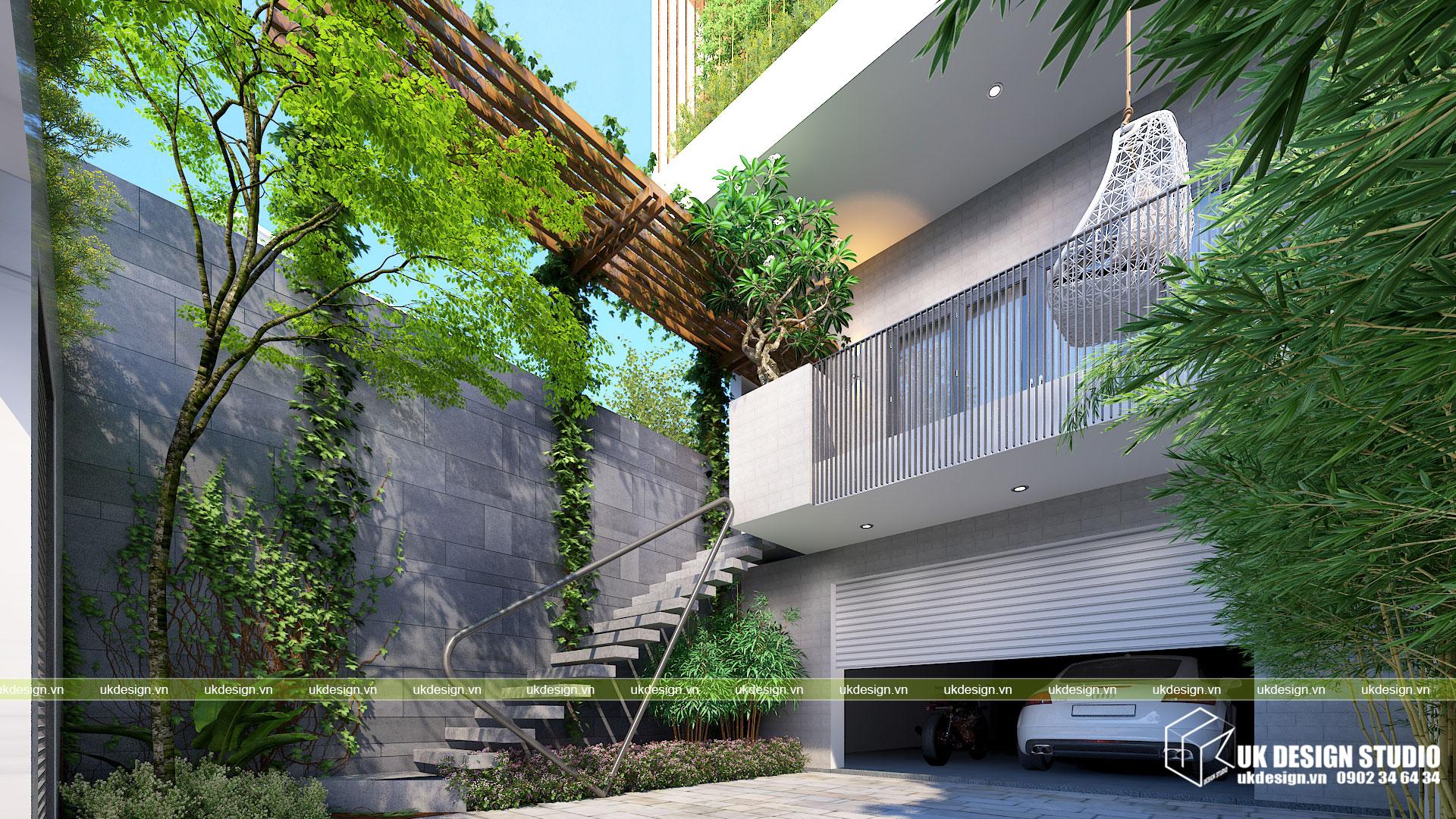 Thiết kế nhà phố hiện đại mặt tiền 7m 3