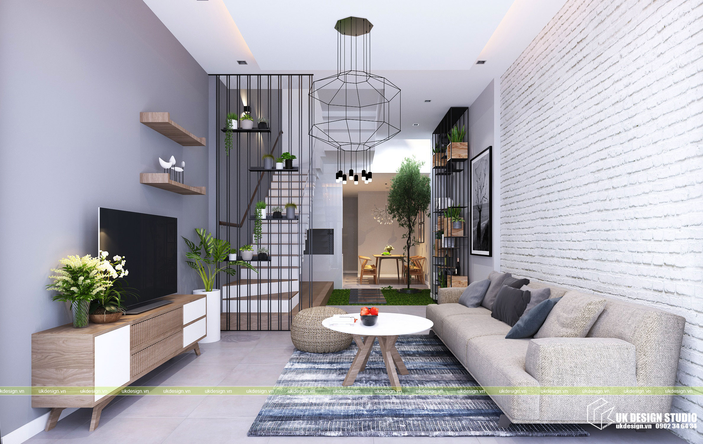 Thiết kế nội thất nhà phố 2 tầng hiện đại