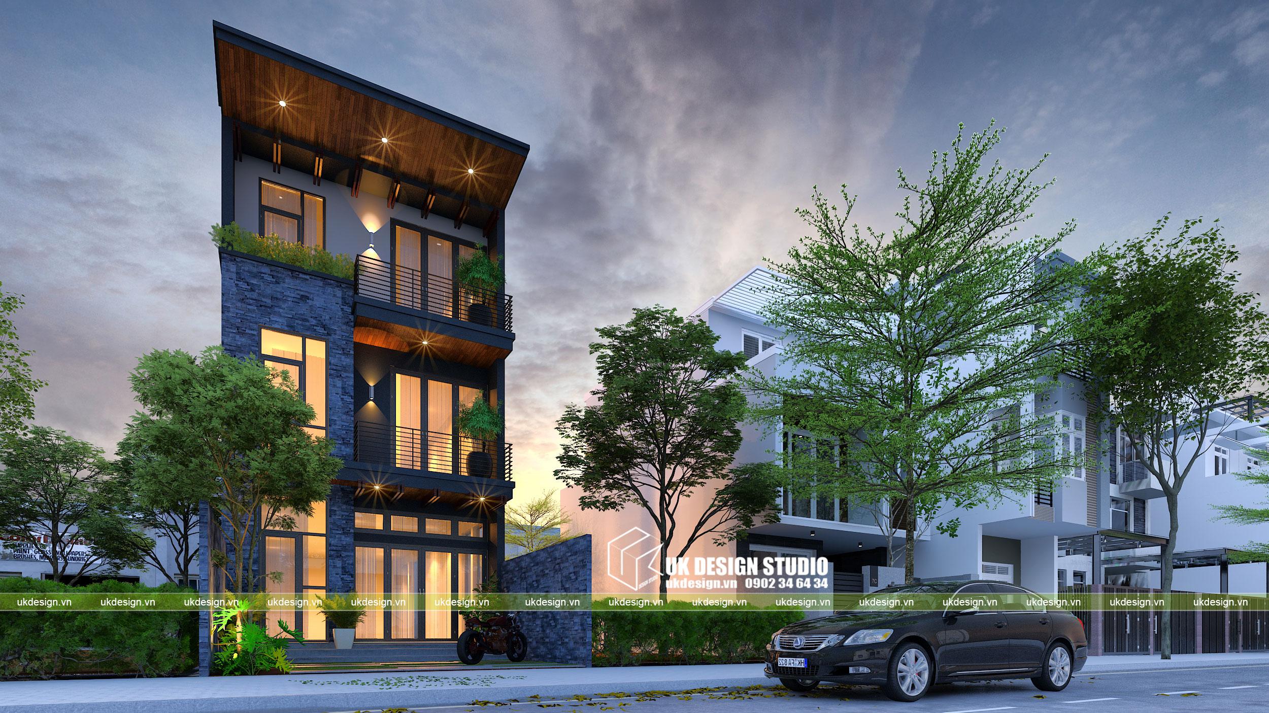 Thiết kế nhà phố 3 tầng hiện đại mặt tiền 6m