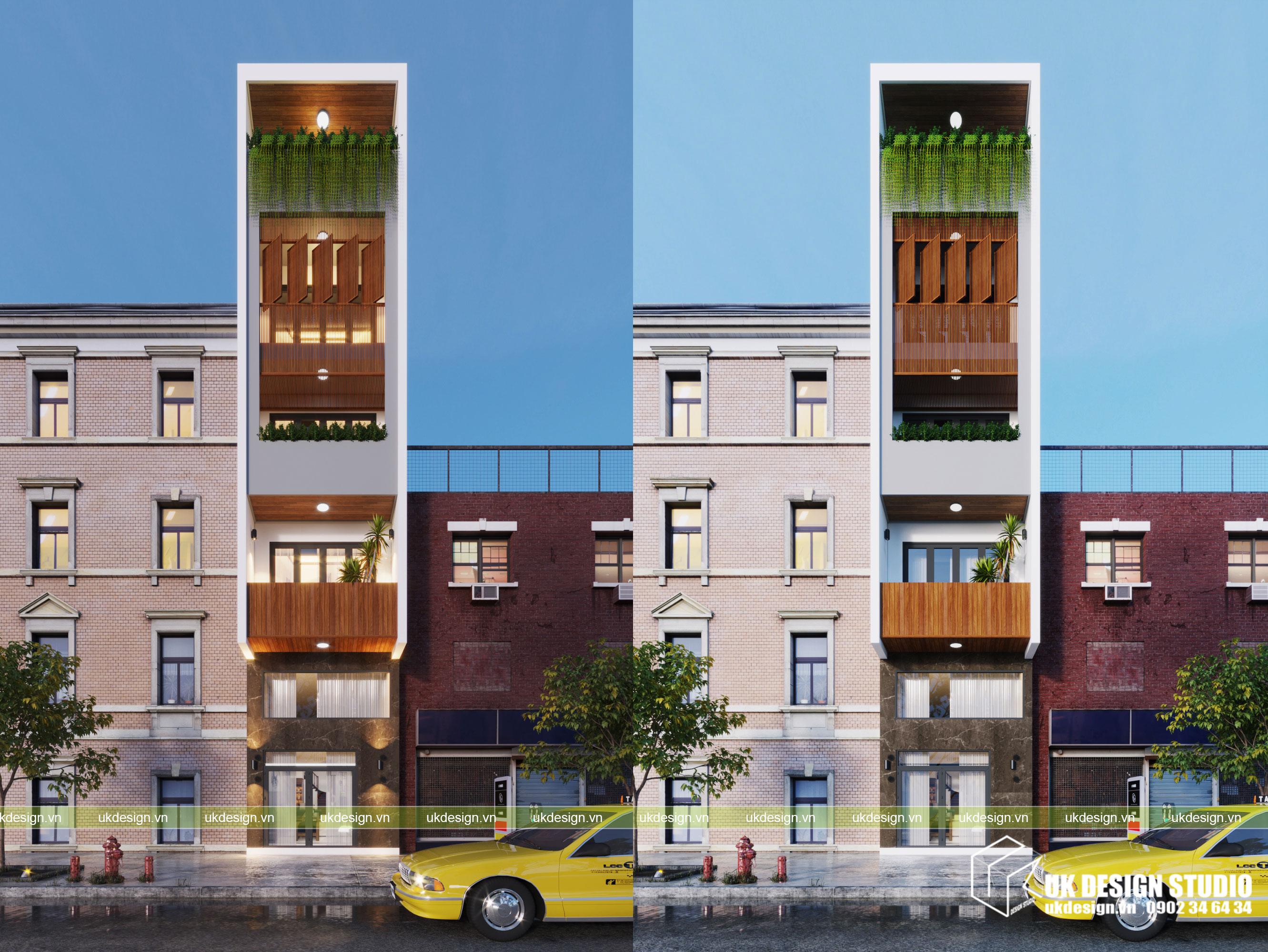Thiết kế nhà phố kết hợp kinh doanh mặt tiền 3m