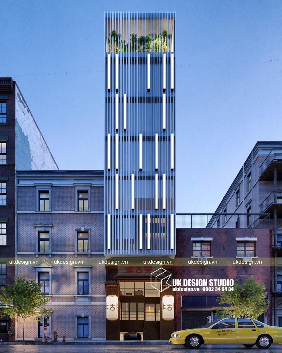 Thiết kế nhà hàng Nhật kết hợp văn phòng 5x20m