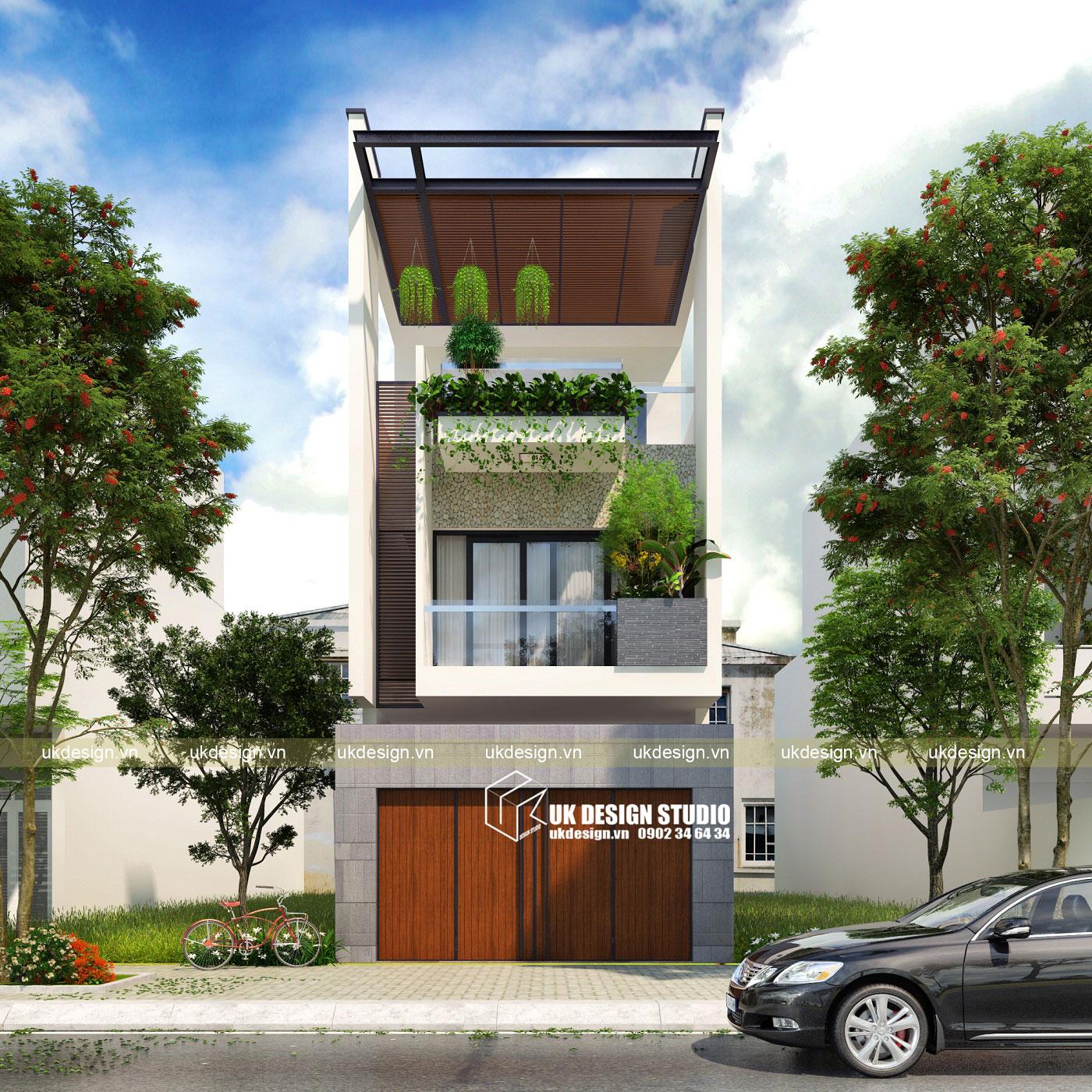 Thiết kế nhà phố hiện đại 3 tầng 5x20m a