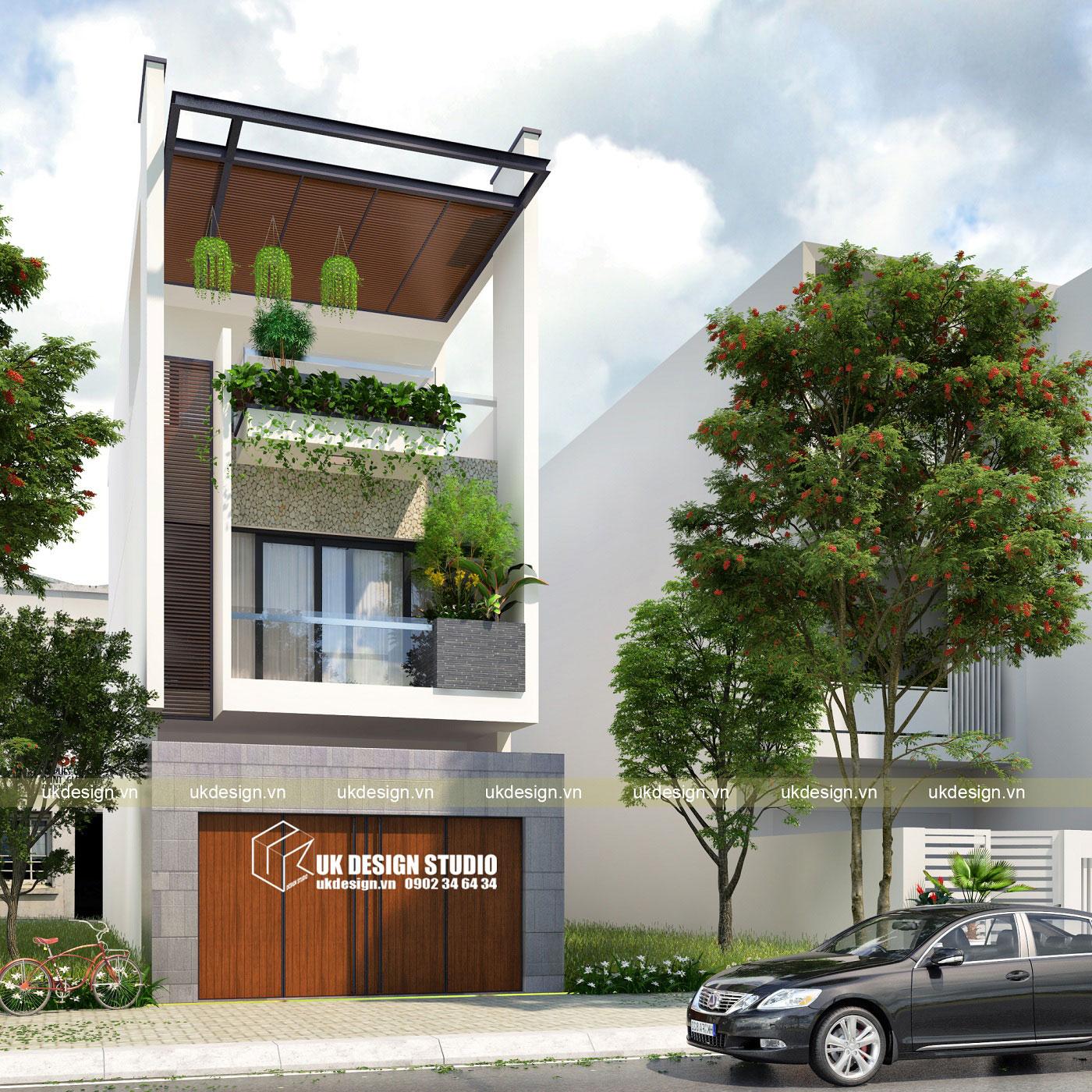Thiết kế nhà phố hiện đại 3 tầng 5x20m b