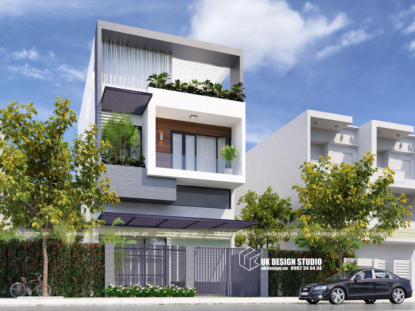 Thiết kế nhà phố hiện đại 3 tầng mặt tiền 8m a