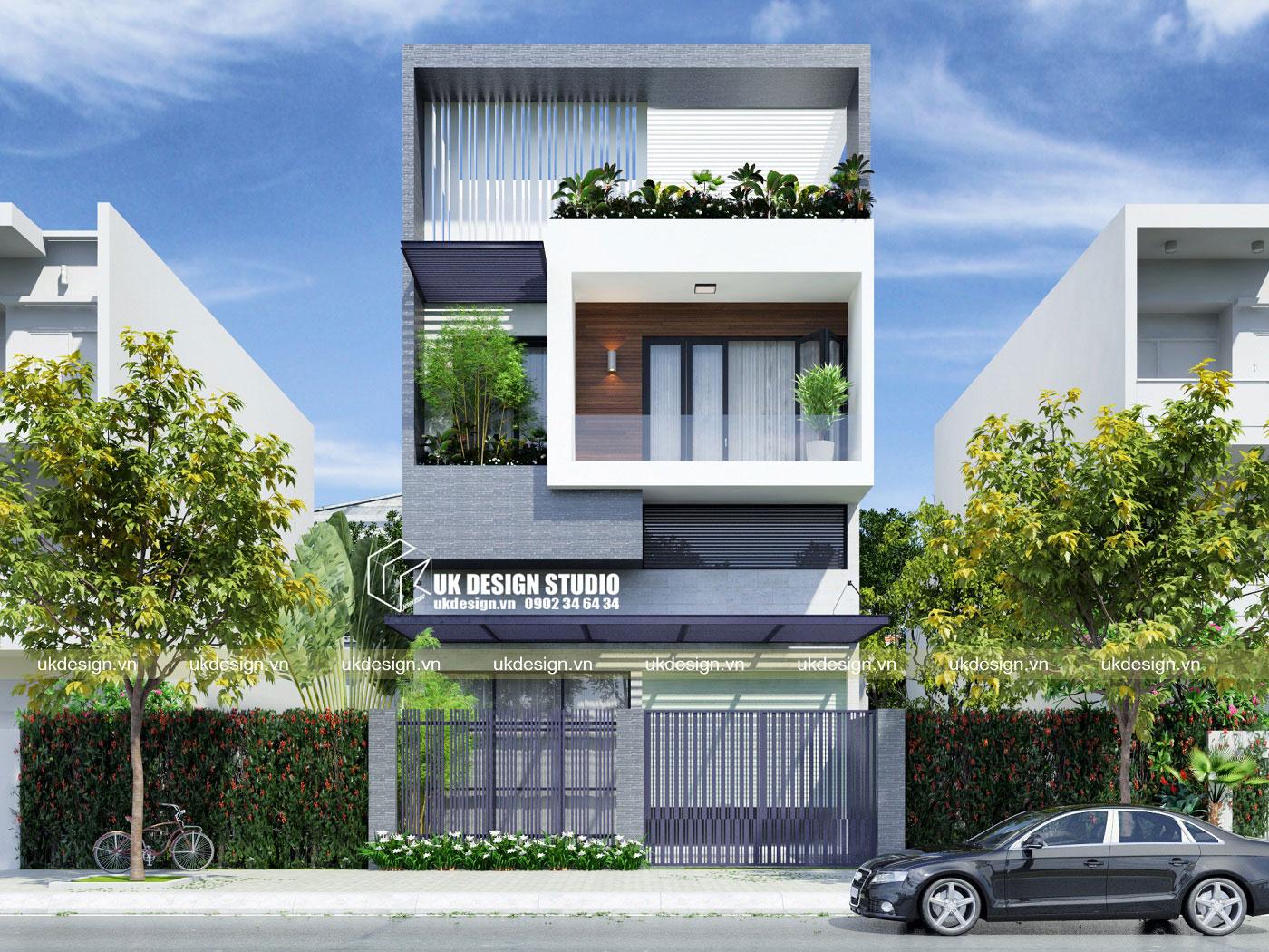 Thiết kế nhà phố hiện đại 3 tầng mặt tiền 8m b