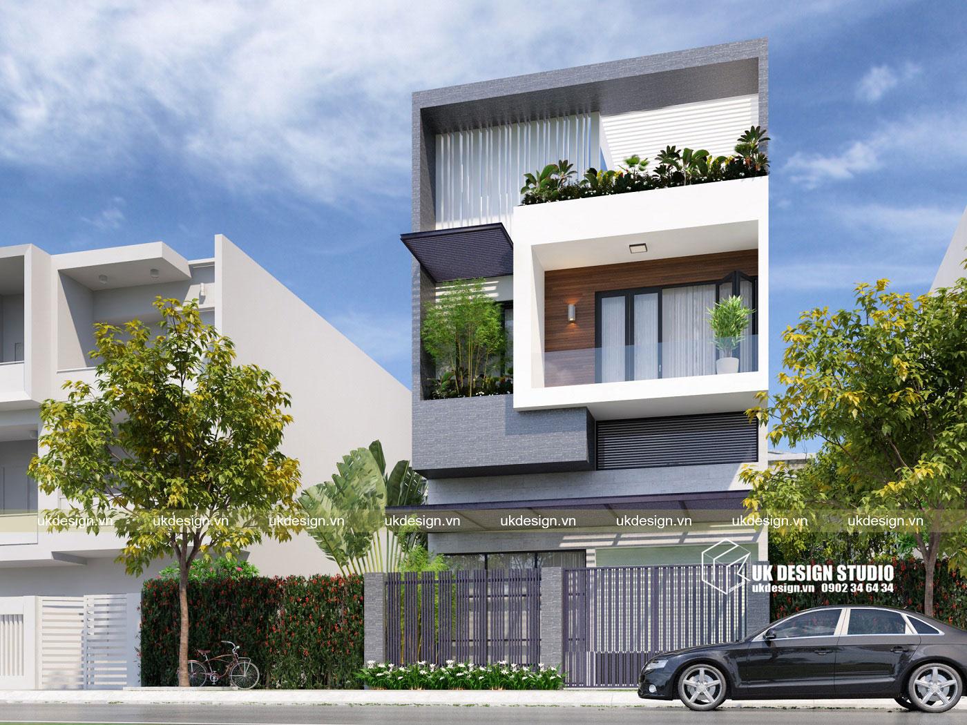 Thiết kế nhà phố hiện đại 3 tầng mặt tiền 8m c