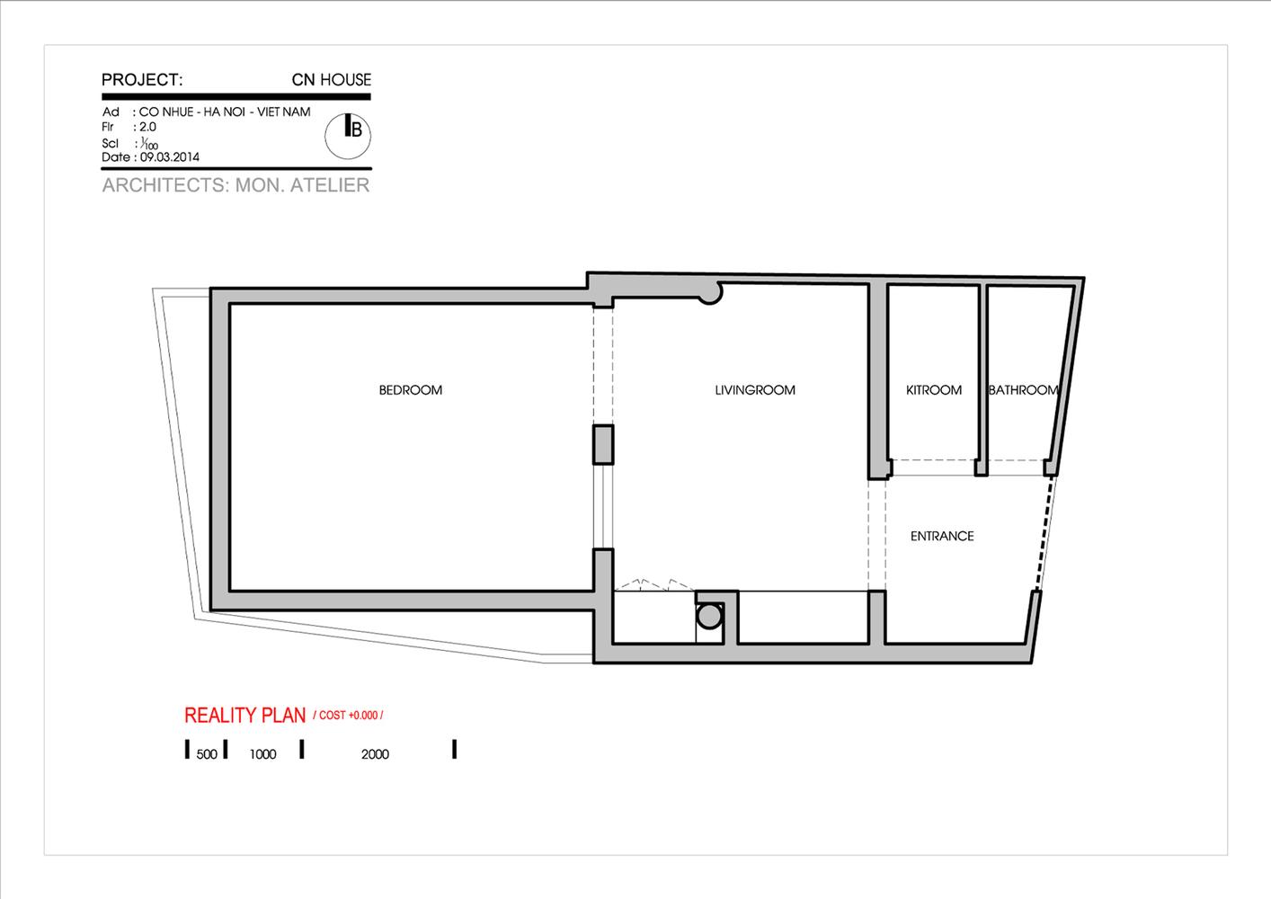 matbangnhaf50m2 innovation house tret - Innovation House - Ngôi nhà có không gian chức năng được biến đổi liên tục