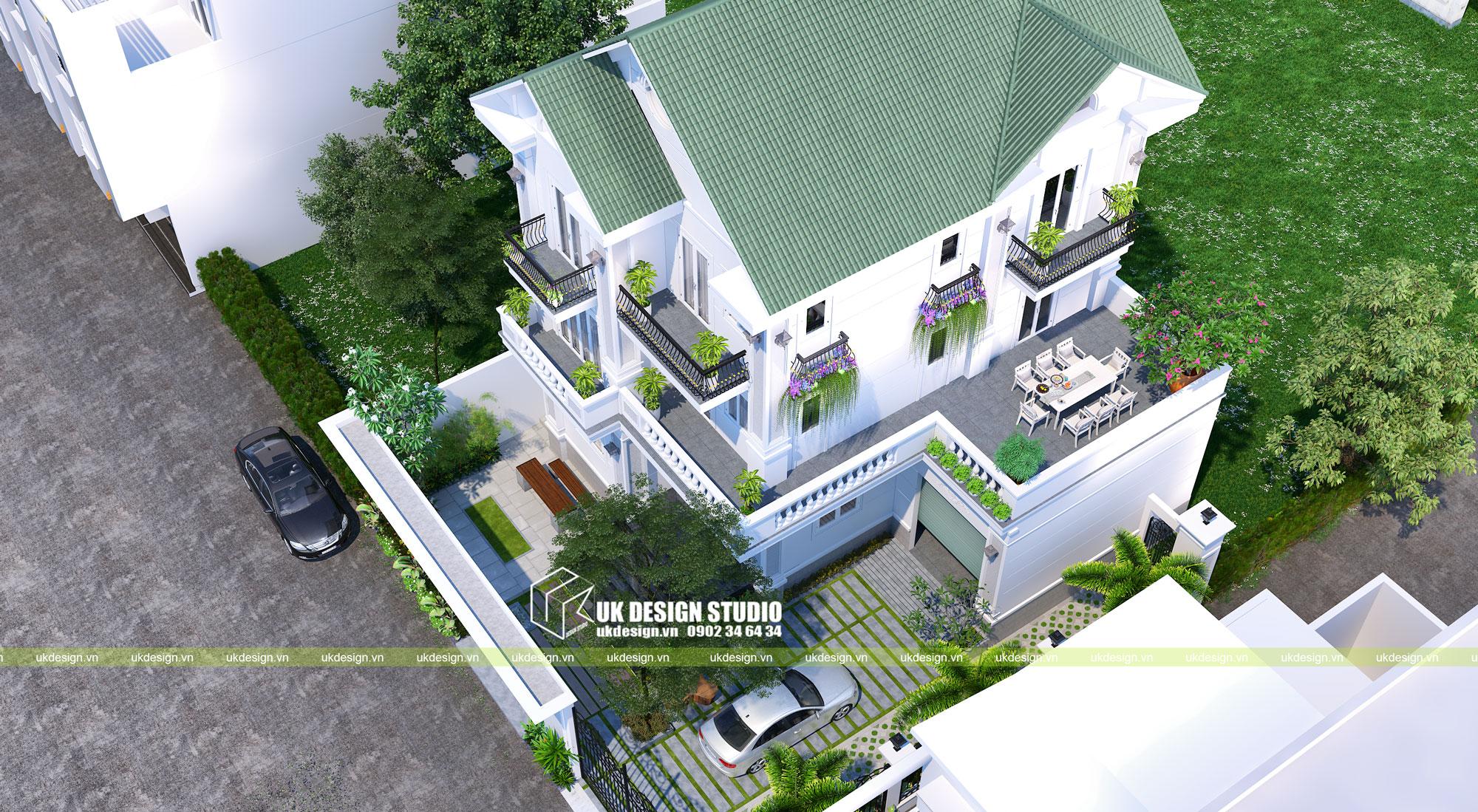 Thiết kế biệt thự mái thái 3 tầng 500m2 2