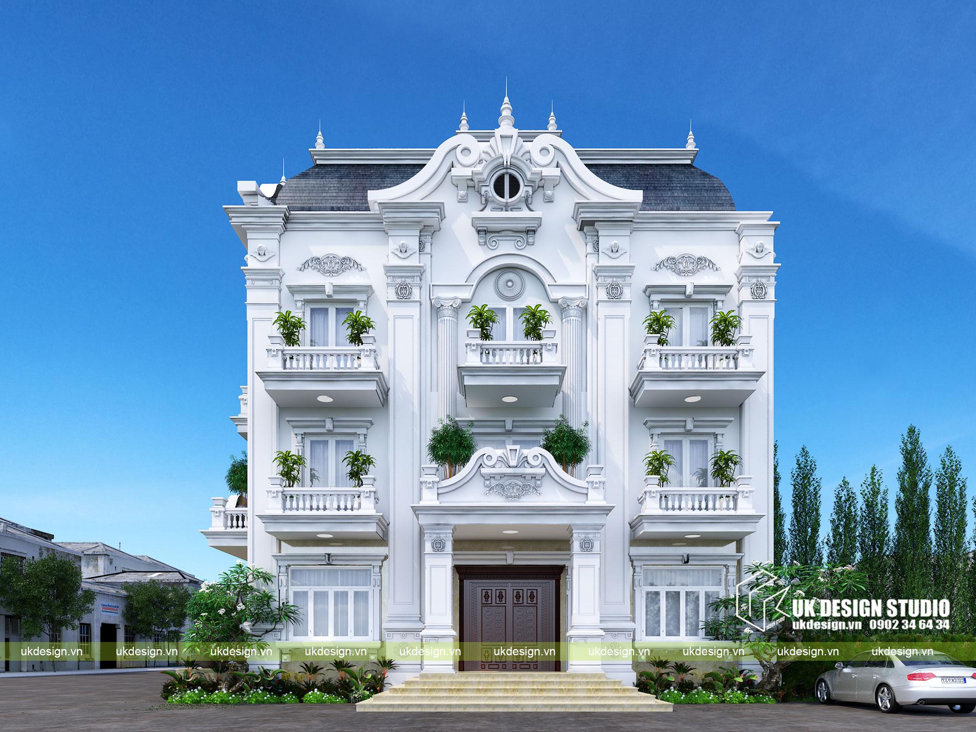 Thiết kế nhà phố cổ điển 2 mặt tiền - 1
