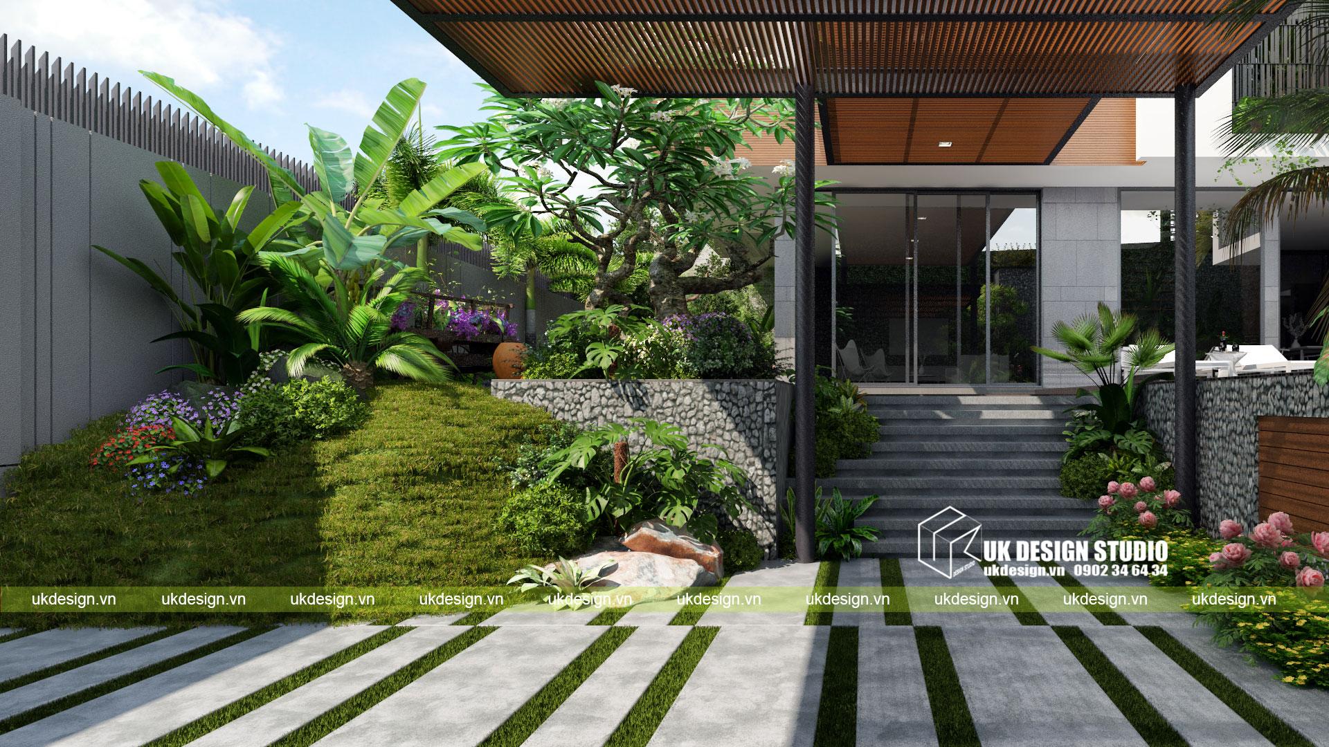 Thiết kế biệt thự vườn có hồ bơi ở Sài Gòn - 3
