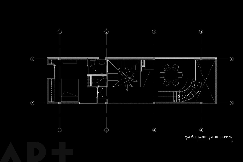 Bố trí mặt bằng lầu 1 - Backyard House