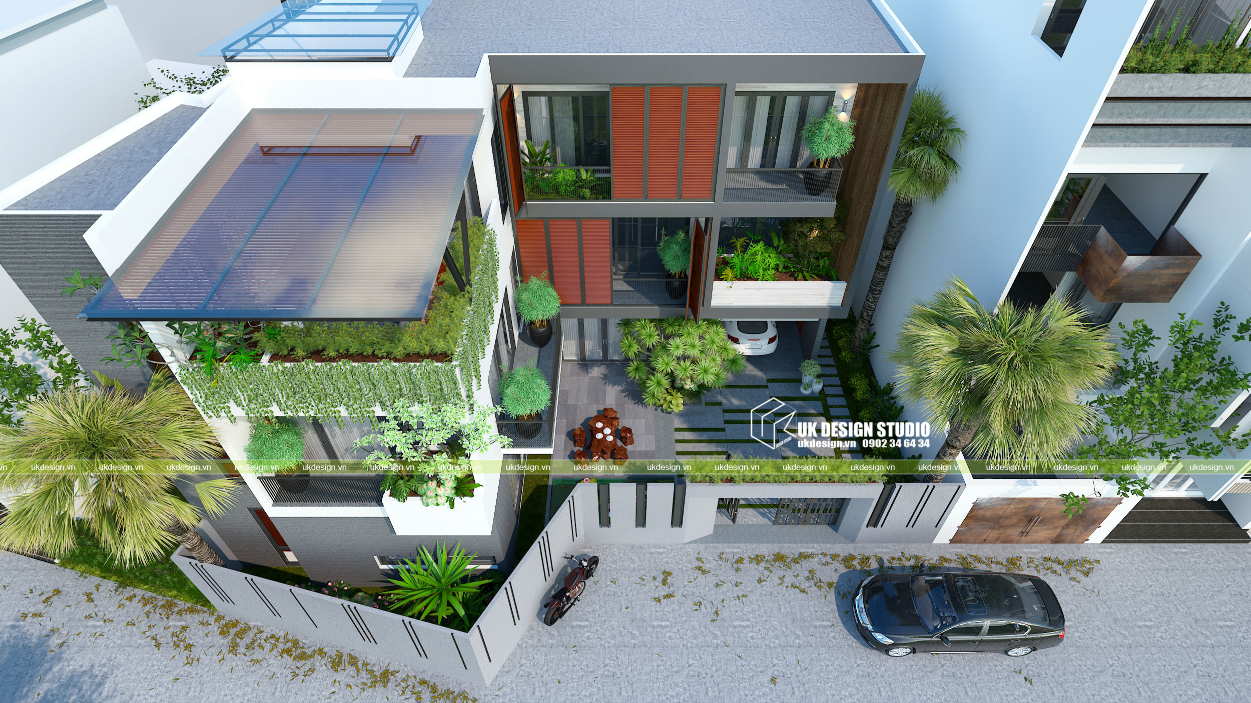 Thiết kế biệt thự hiện đại mái bằng chữ L  4