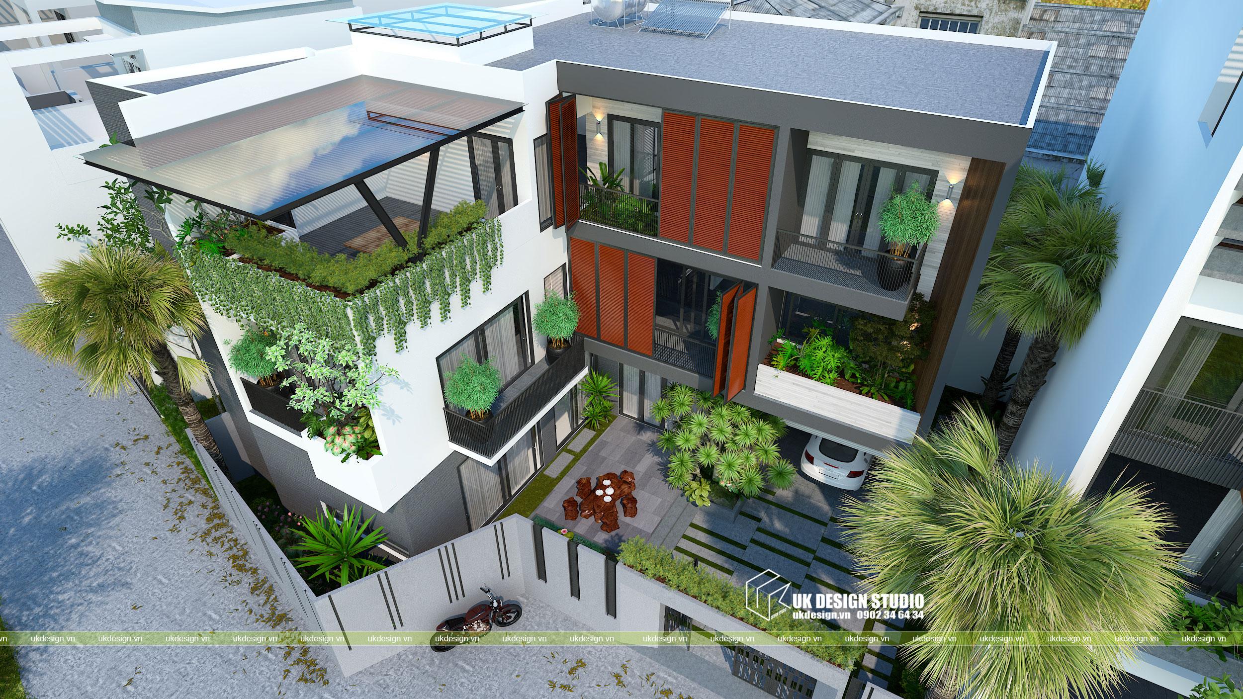 Thiết kế biệt thự hiện đại mái bằng chữ L 5