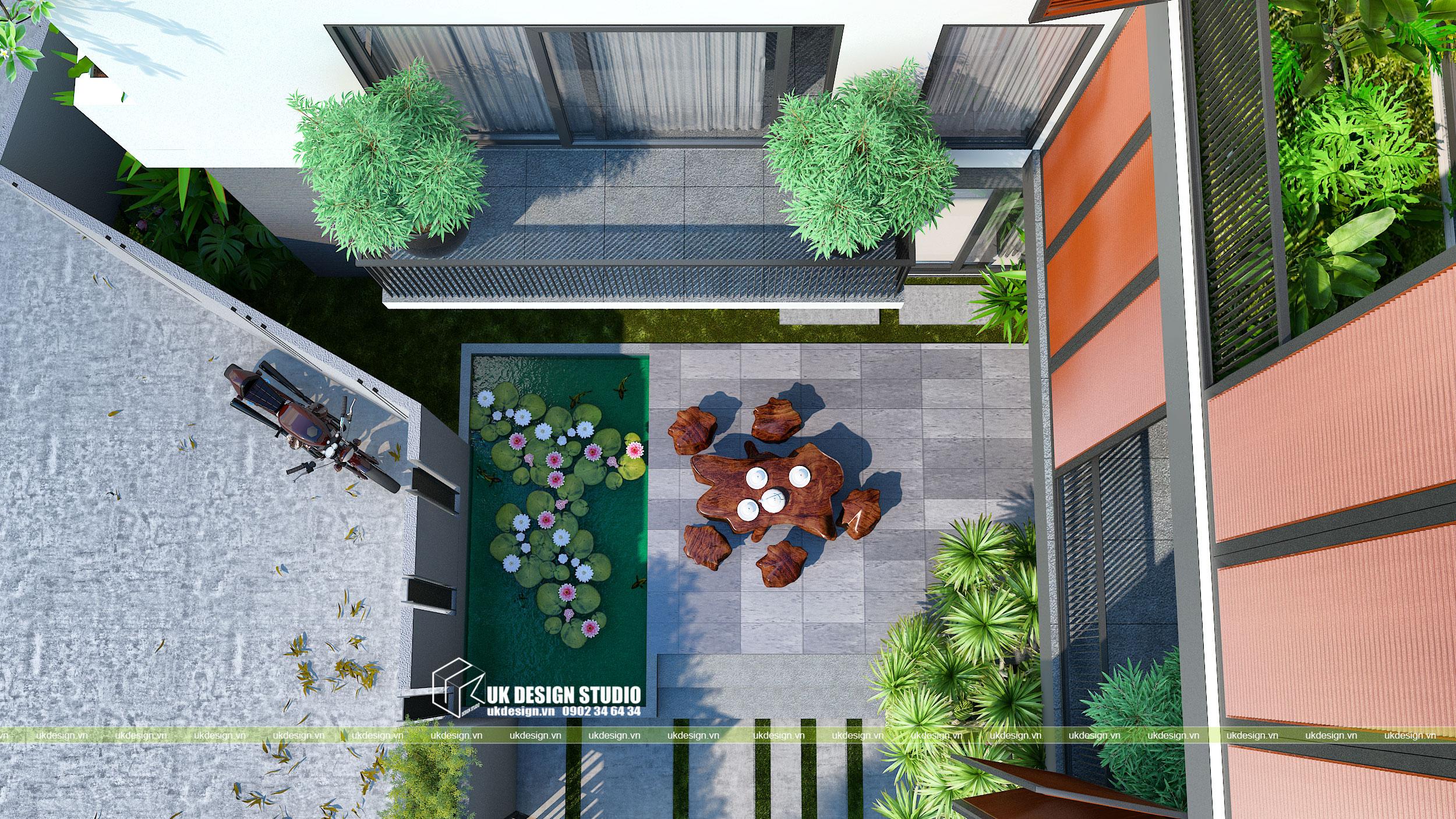 Thiết kế biệt thự hiện đại mái bằng chữ L 6