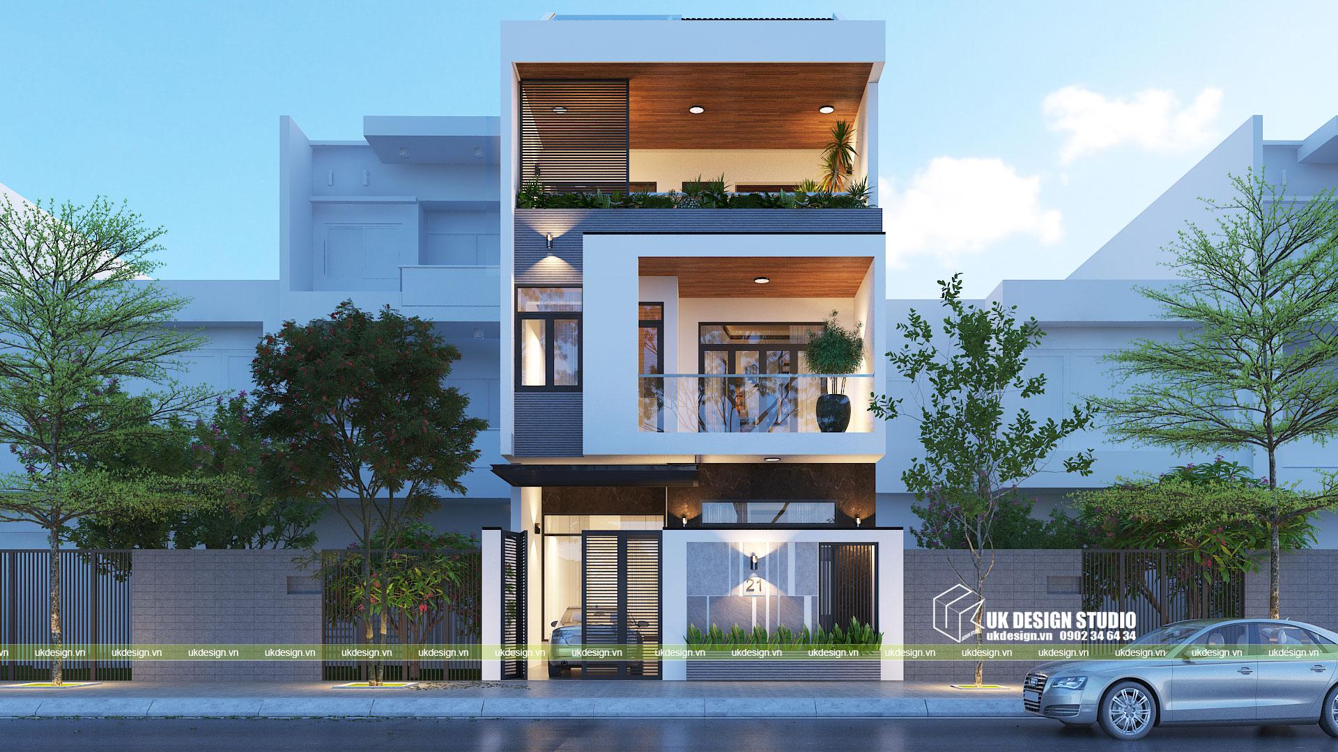 Thiết kế nhà phố hiện đại 3 tầng mặt tiền 7m