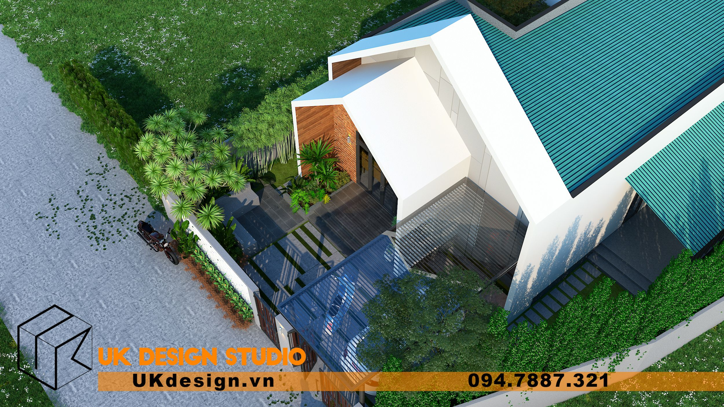 Thiết kế biệt thự 2 tầng phong cách hiện đại mái nhọn 15
