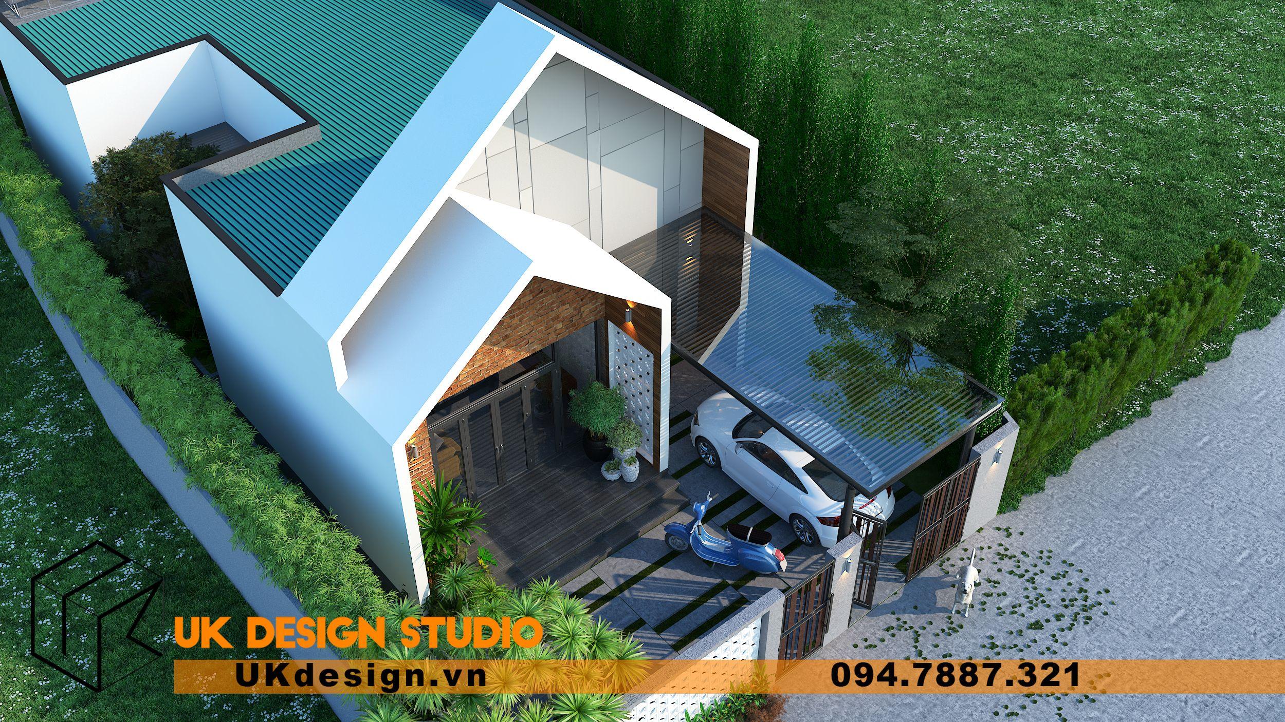 Thiết kế biệt thự 2 tầng phong cách hiện đại mái nhọn 14