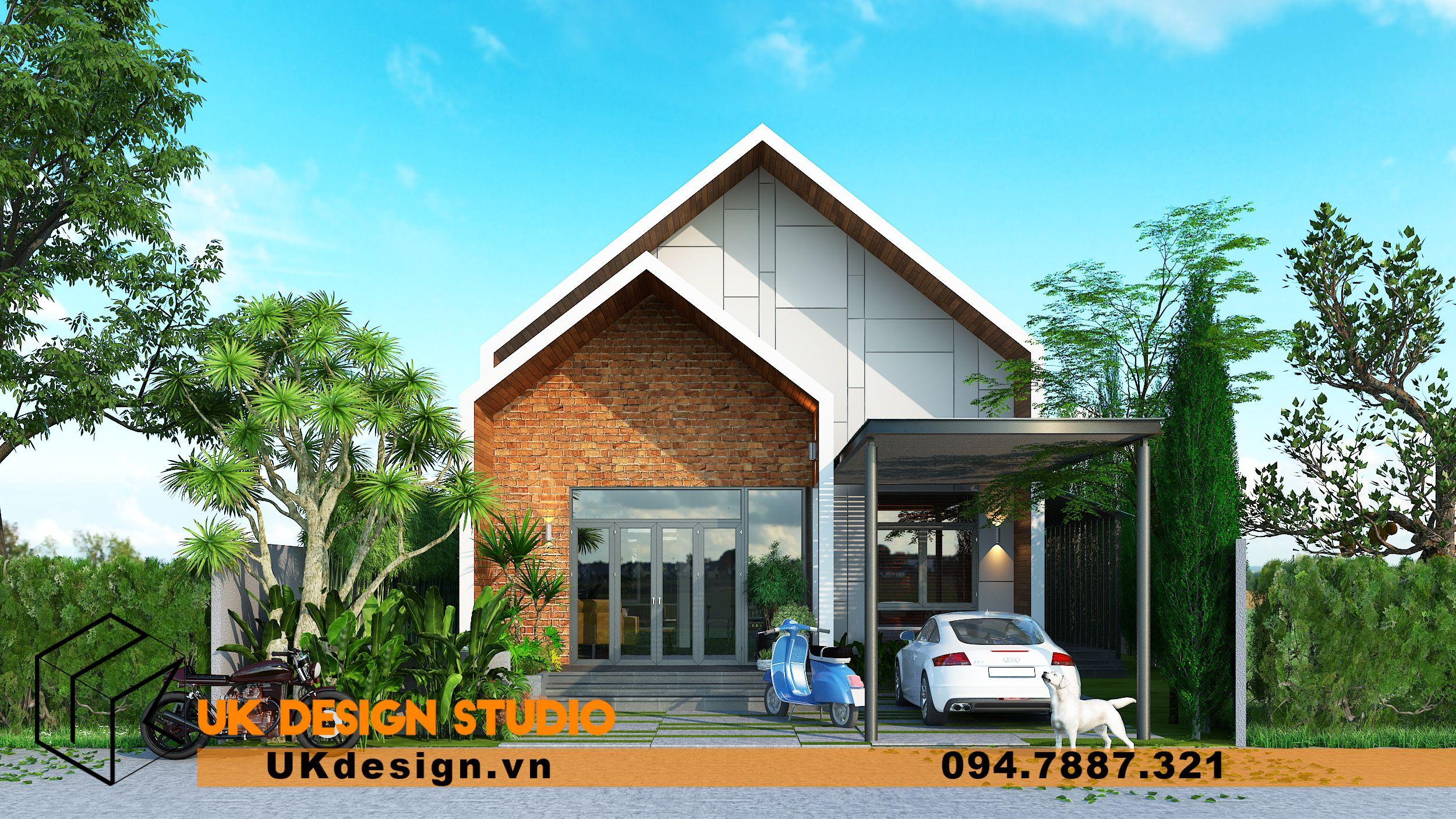 Thiết kế biệt thự 2 tầng phong cách hiện đại mái nhọn 8
