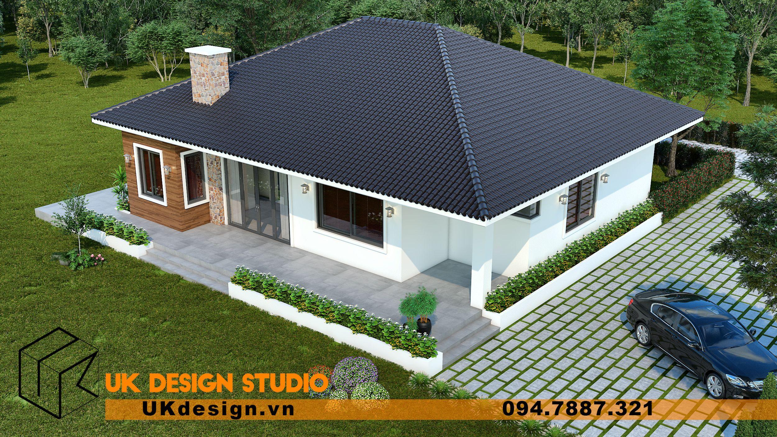 Thiết kế biệt thự nhà vườn nghỉ dưỡng 1 tầng 1